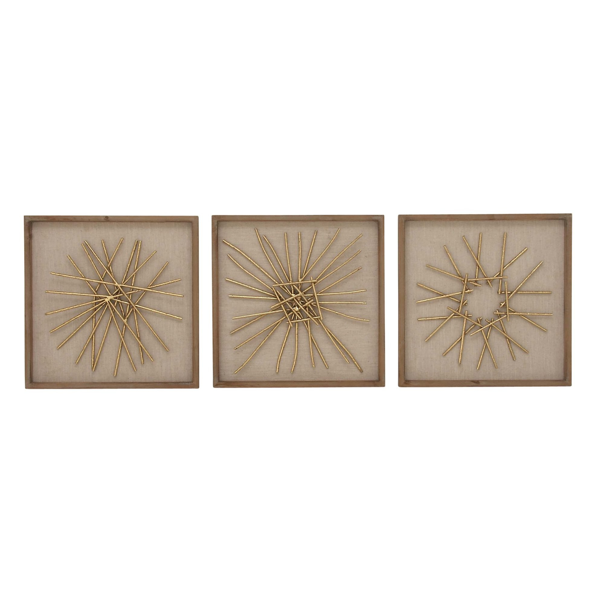 Cole Grey 3 Piece Metalwood Wall Dcor Set Christmas Inside Wall Decor By Cole & Grey (View 5 of 30)