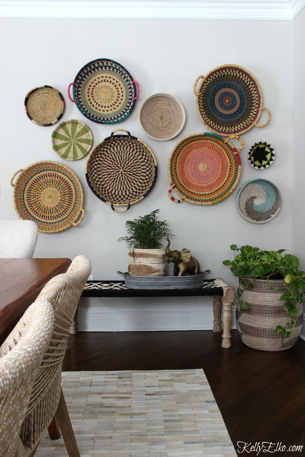 Colorful Basket Gallery Wall | Beautiful Baskets | Home with regard to 4 Piece Handwoven Wheel Wall Decor Sets (Image 12 of 30)