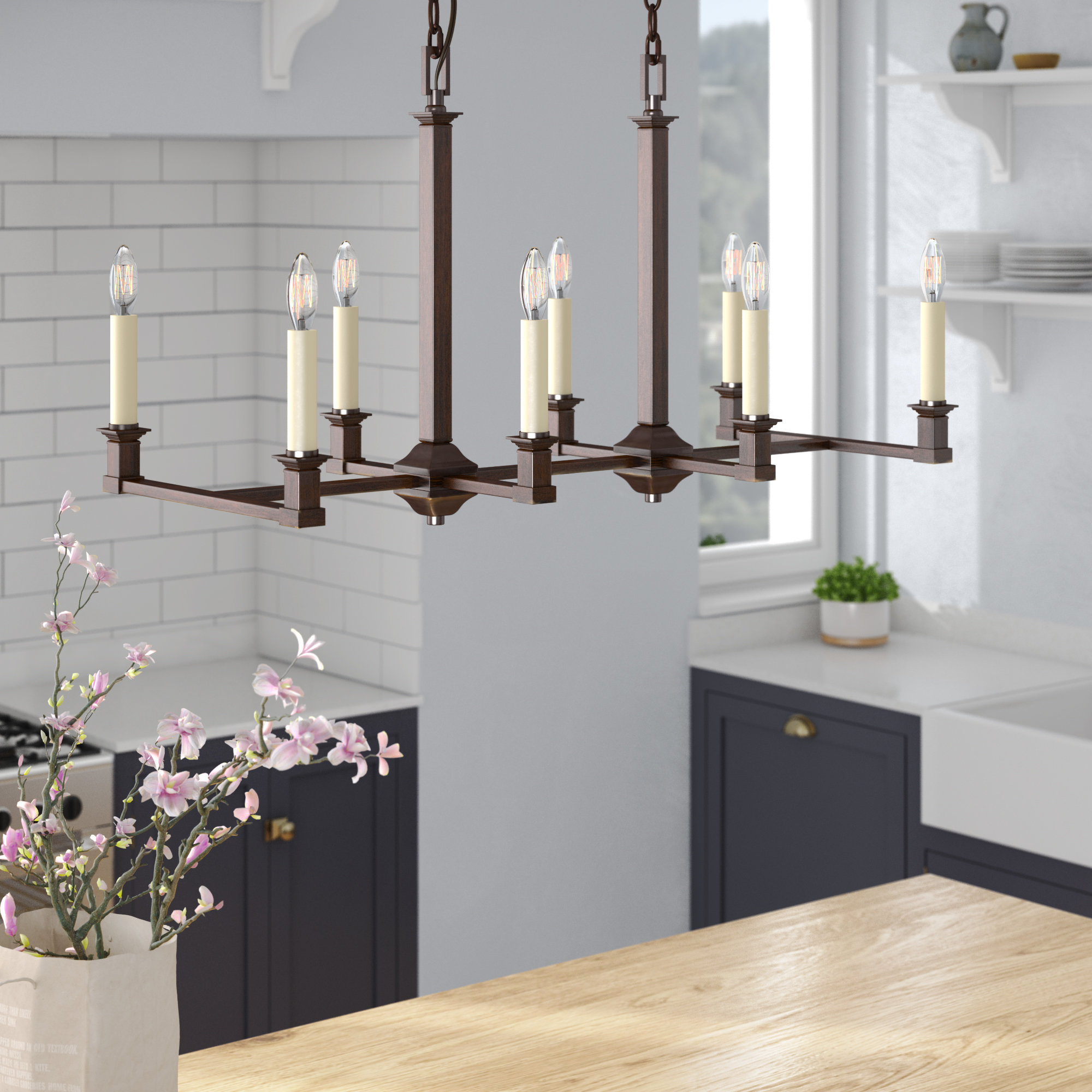Columbine Valley 8 Light Incandescent Kitchen Island Pendant For Bautista 6 Light Kitchen Island Bulb Pendants (View 18 of 30)