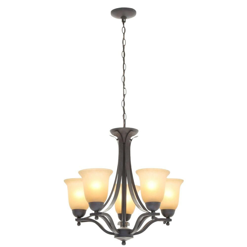 Commercial Electric 5 Light Rustic Iron Chandelier With In Crofoot 5 Light Shaded Chandeliers (View 11 of 30)