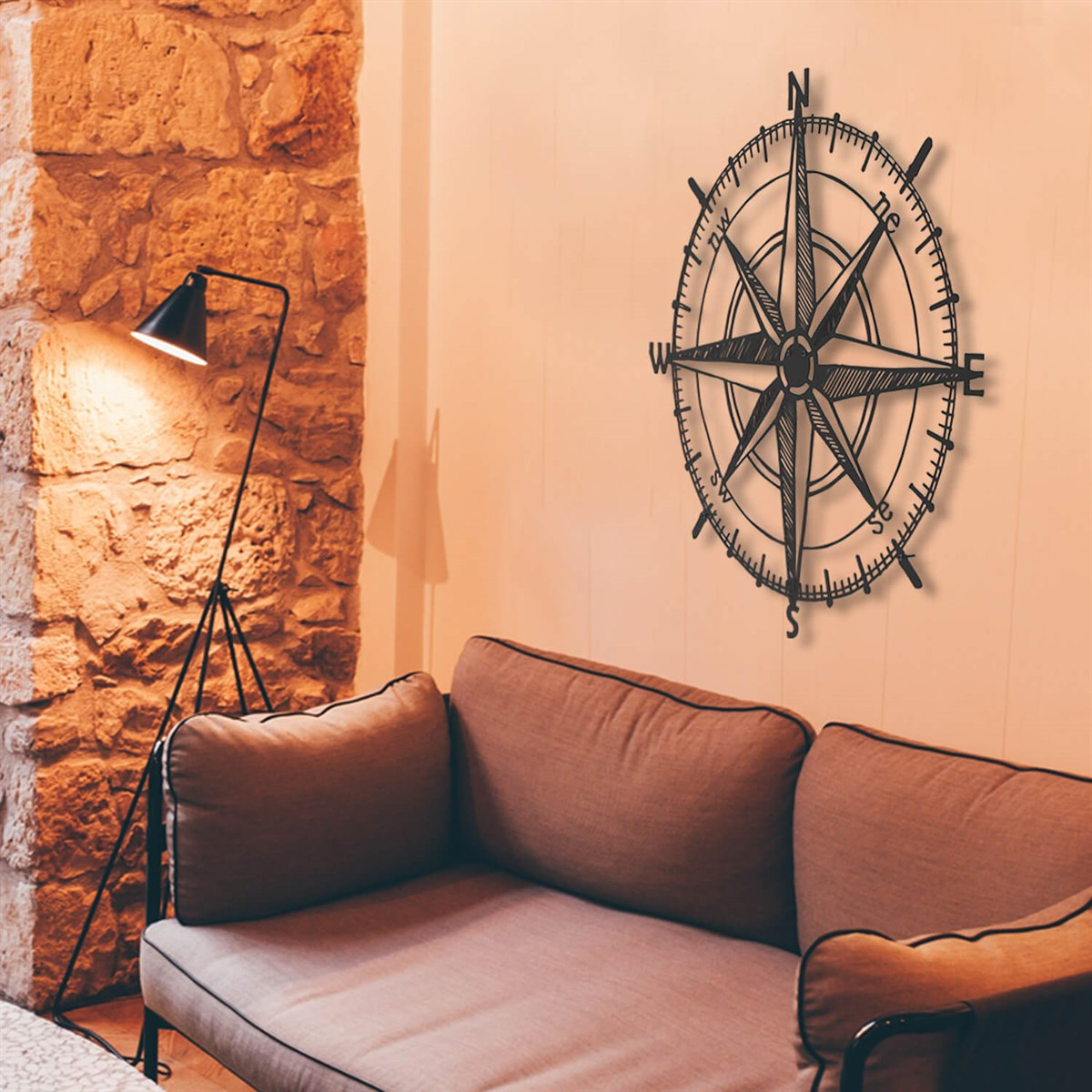 Compass Metal Wall Art - Apt120 - Black regarding Outdoor Metal Wall Compass (Image 9 of 30)