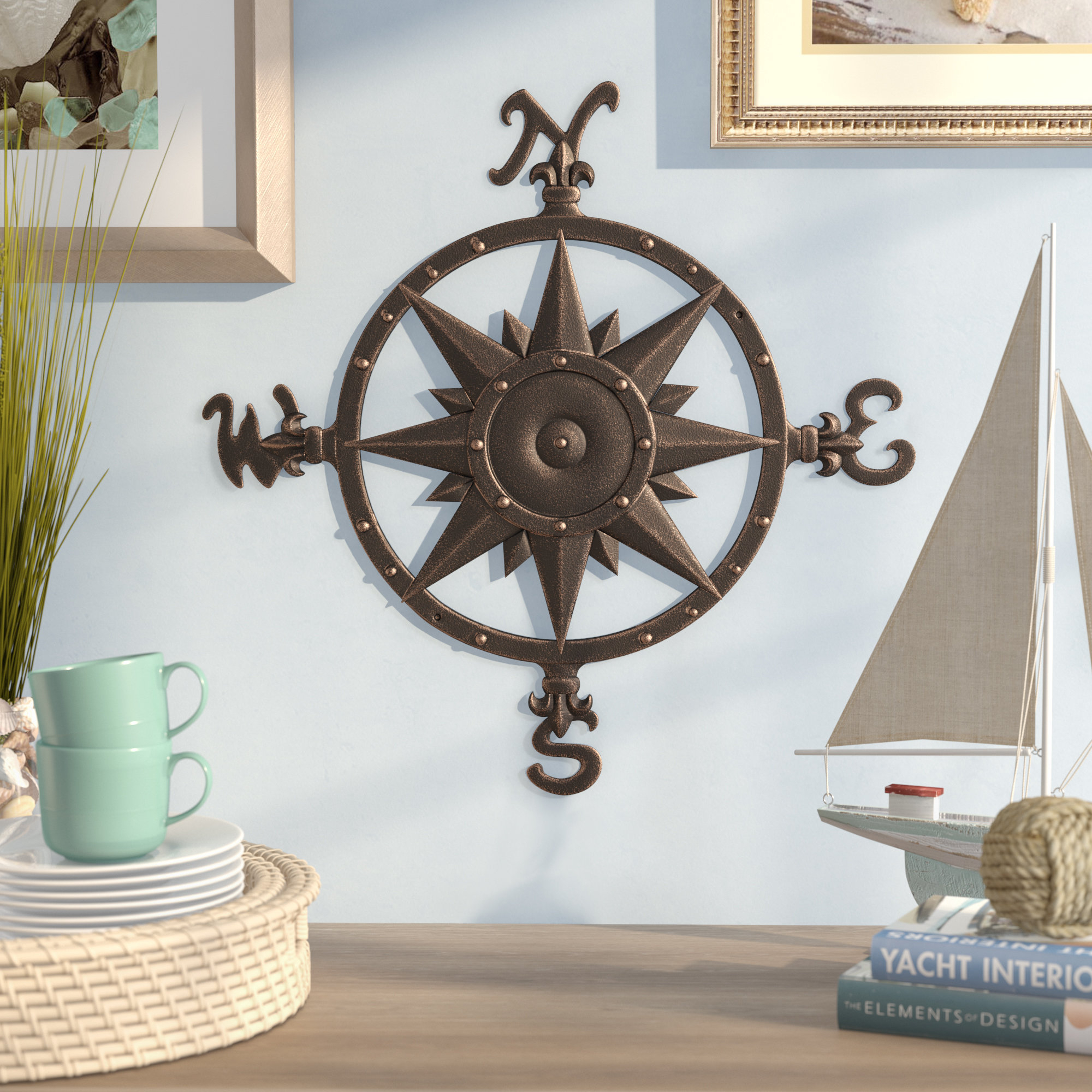 Compass Metal Wall Décor For Oil Rubbed Metal Wall Decor (View 9 of 30)