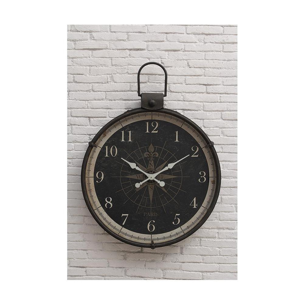 Compass Round Wall Clock for Round Compass Wall Decor (Image 9 of 30)