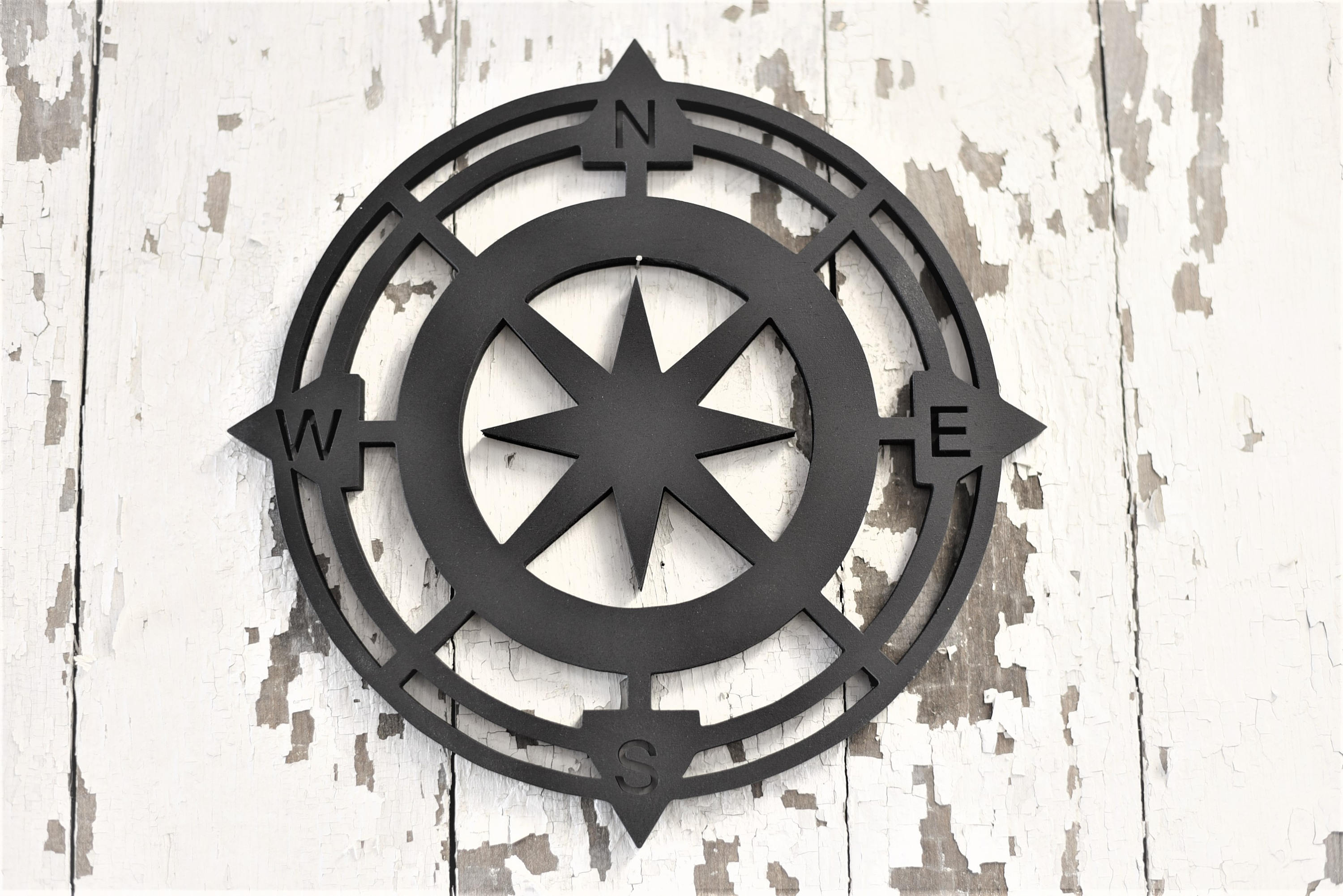 Compass Wood Stained Round Wood Cut Wall Art Sign Decor for Round Compass Wall Decor (Image 10 of 30)
