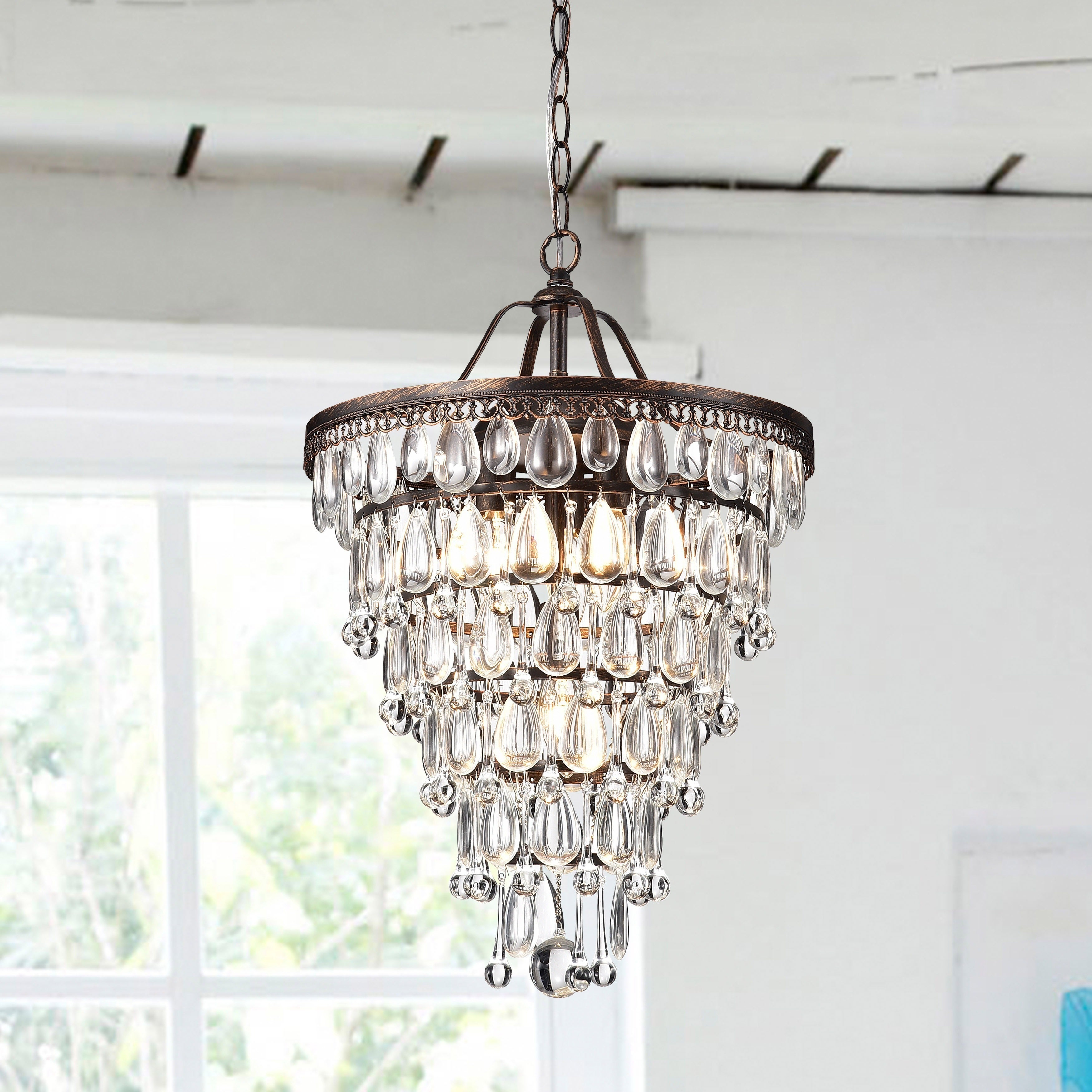 Cone Shape 4 Light Antique Copper Crystal Chandelier Pertaining To Von 4 Light Crystal Chandeliers (View 21 of 30)