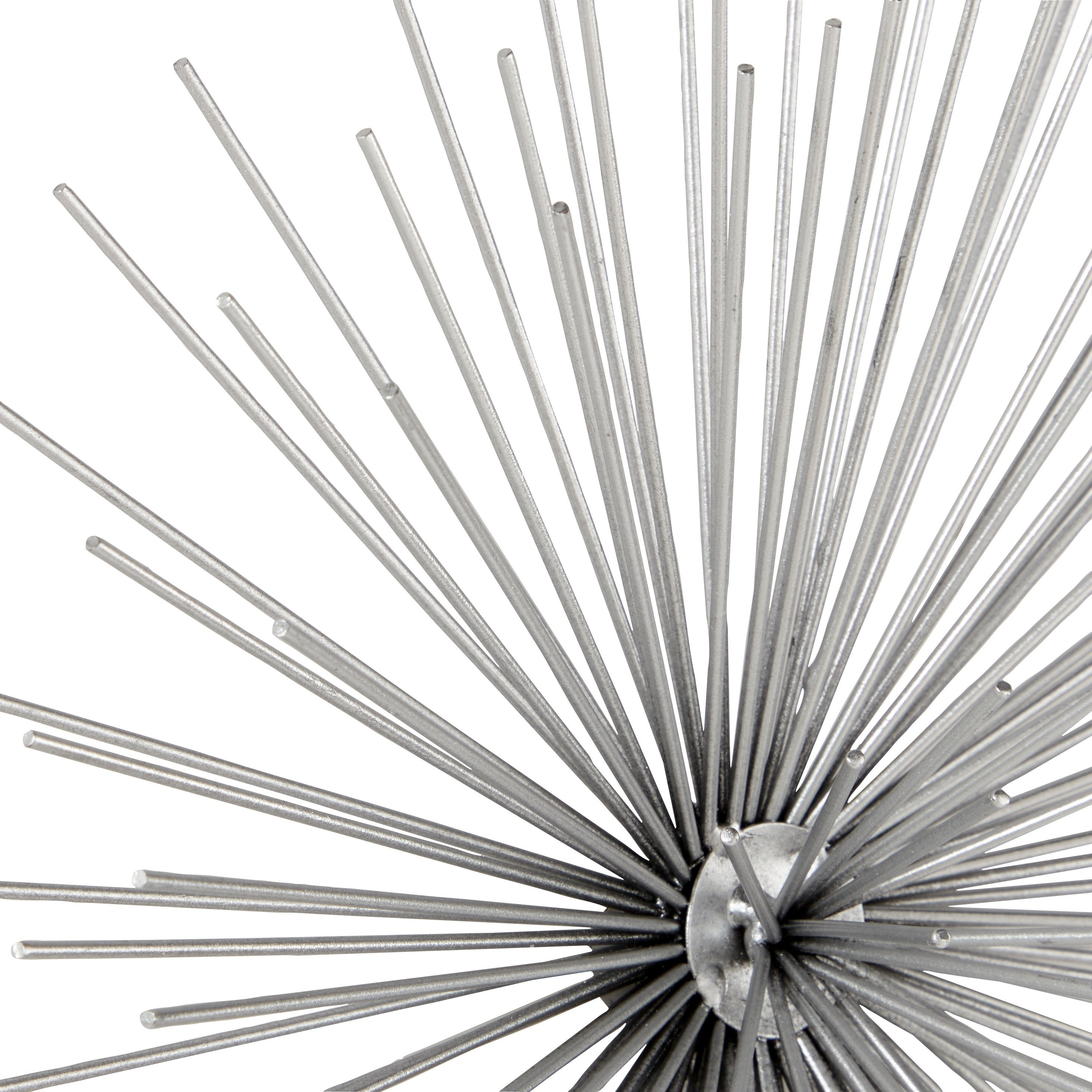 Contemporary 3D Silver Metal Starburst Wall Decor Sculptures Set Of 3 with Set of 3 Contemporary 6, 9, and 11 Inch Gold Tin Starburst Sculptures (Image 8 of 30)