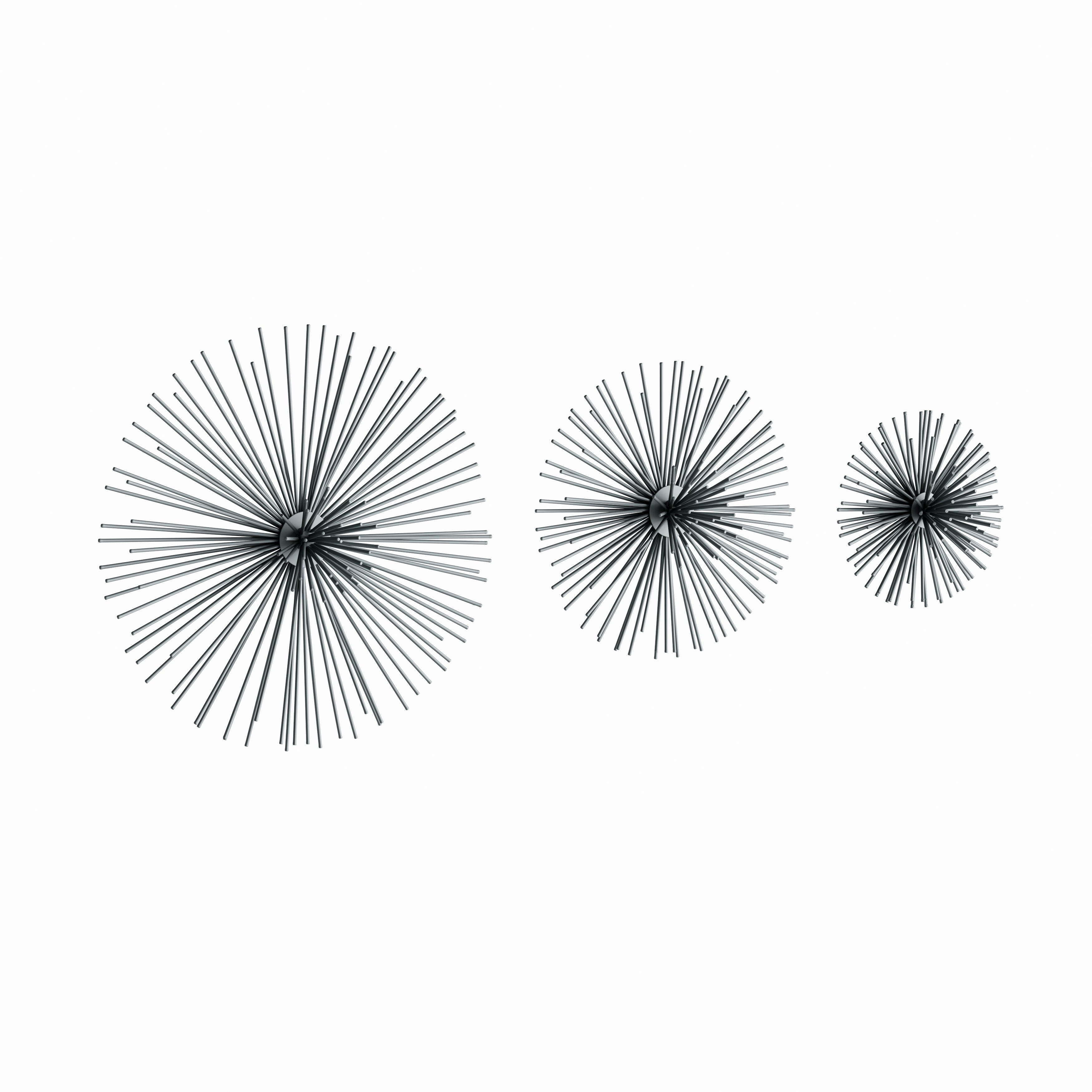 Contemporary 3D Silver Metal Starburst Wall Decor Sculptures Set Of 3 within 2 Piece Starburst Wall Decor Sets (Image 19 of 30)