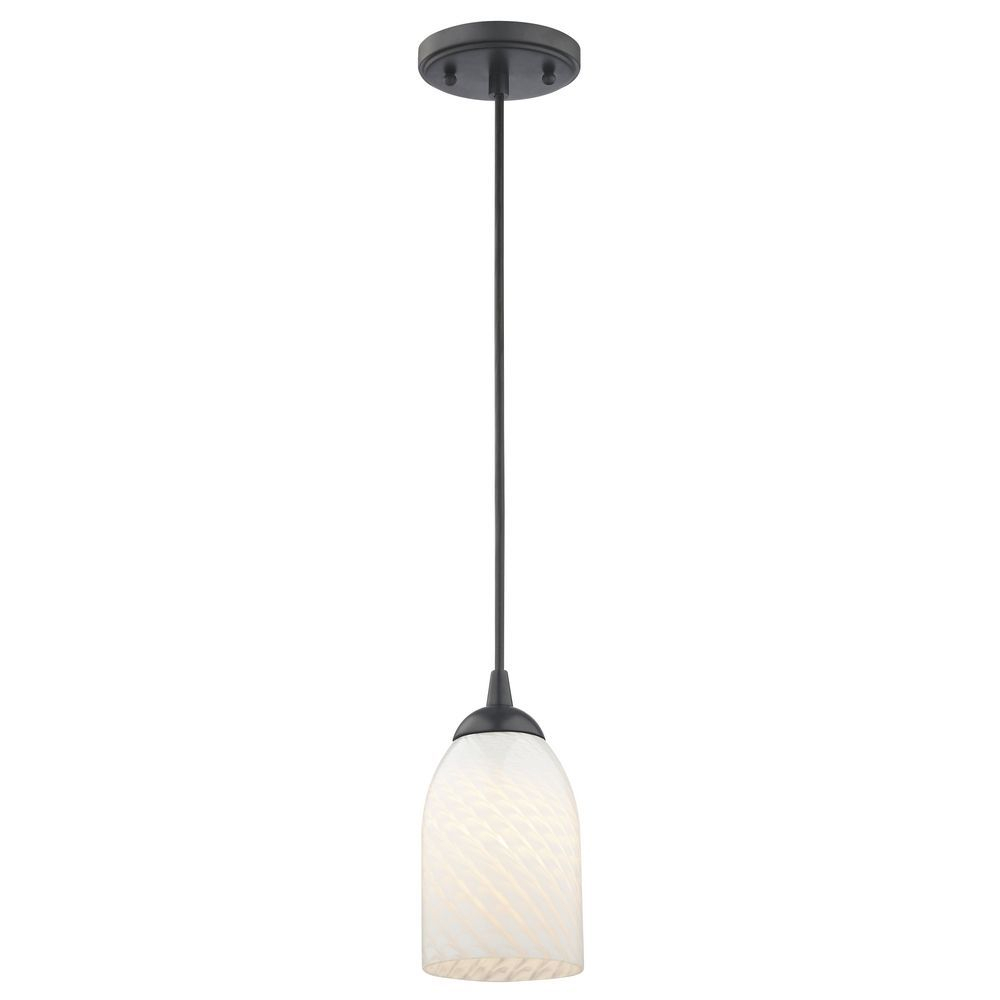 Contemporary Black Mini Pendant Light With White Scalloped With Abernathy 1 Light Dome Pendants (Image 11 of 30)
