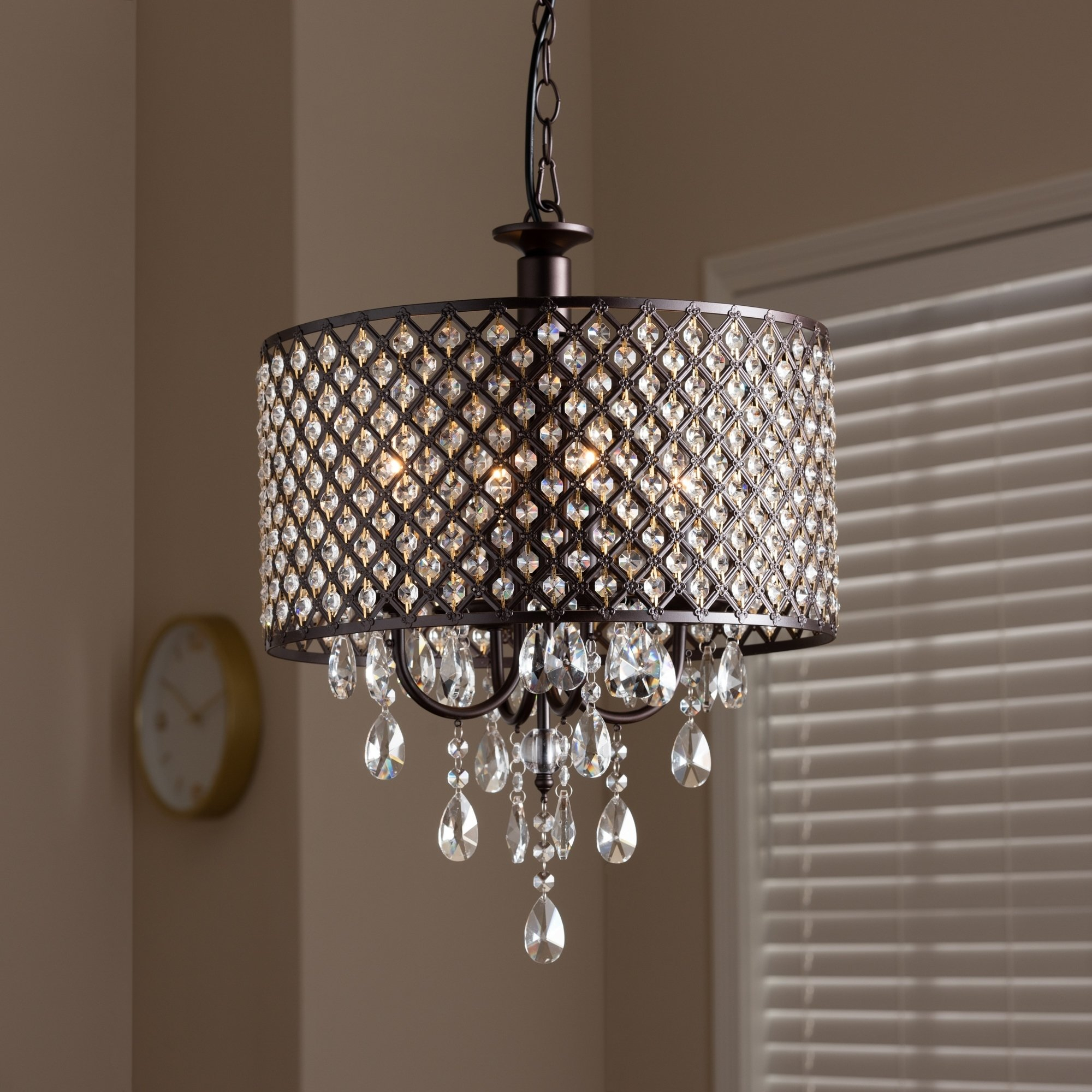 Contemporary Dark Bronze 4-Light Drum Pendant Light for Aldgate 4-Light Crystal Chandeliers (Image 11 of 30)