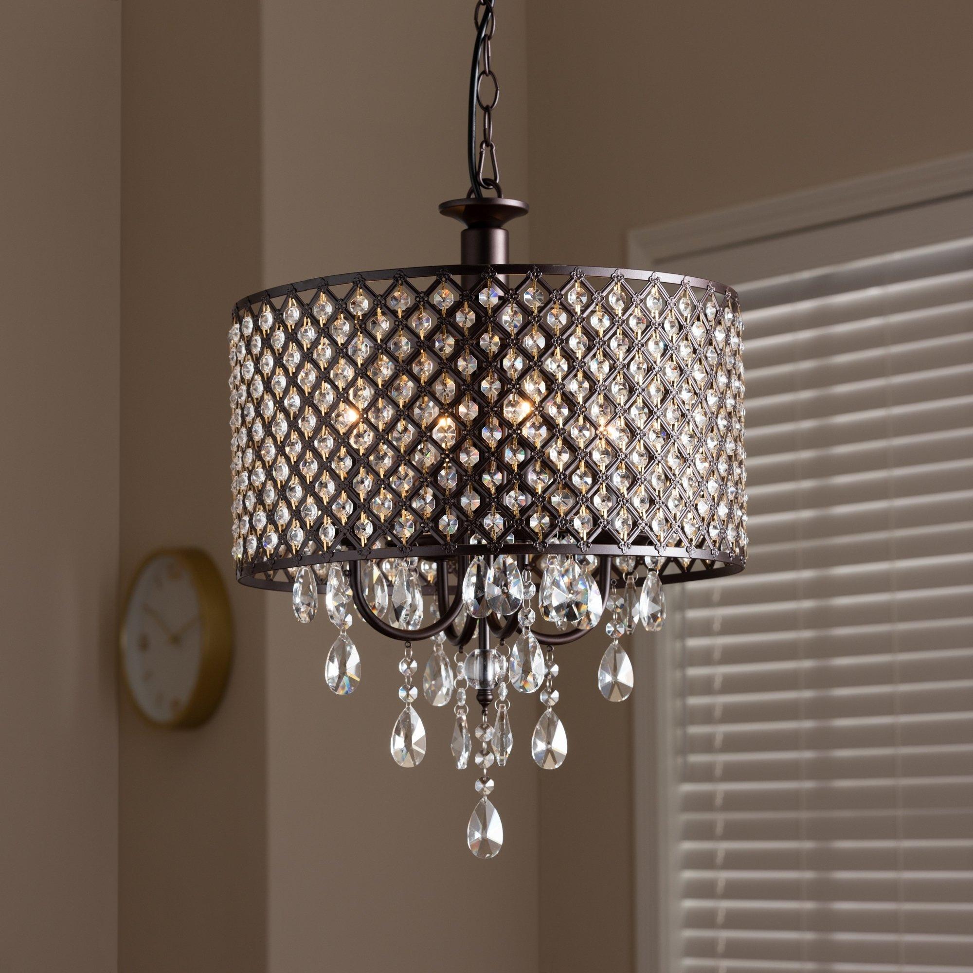 Contemporary Dark Bronze 4 Light Drum Pendant Light For Aldgate 4 Light Crystal Chandeliers (View 14 of 30)