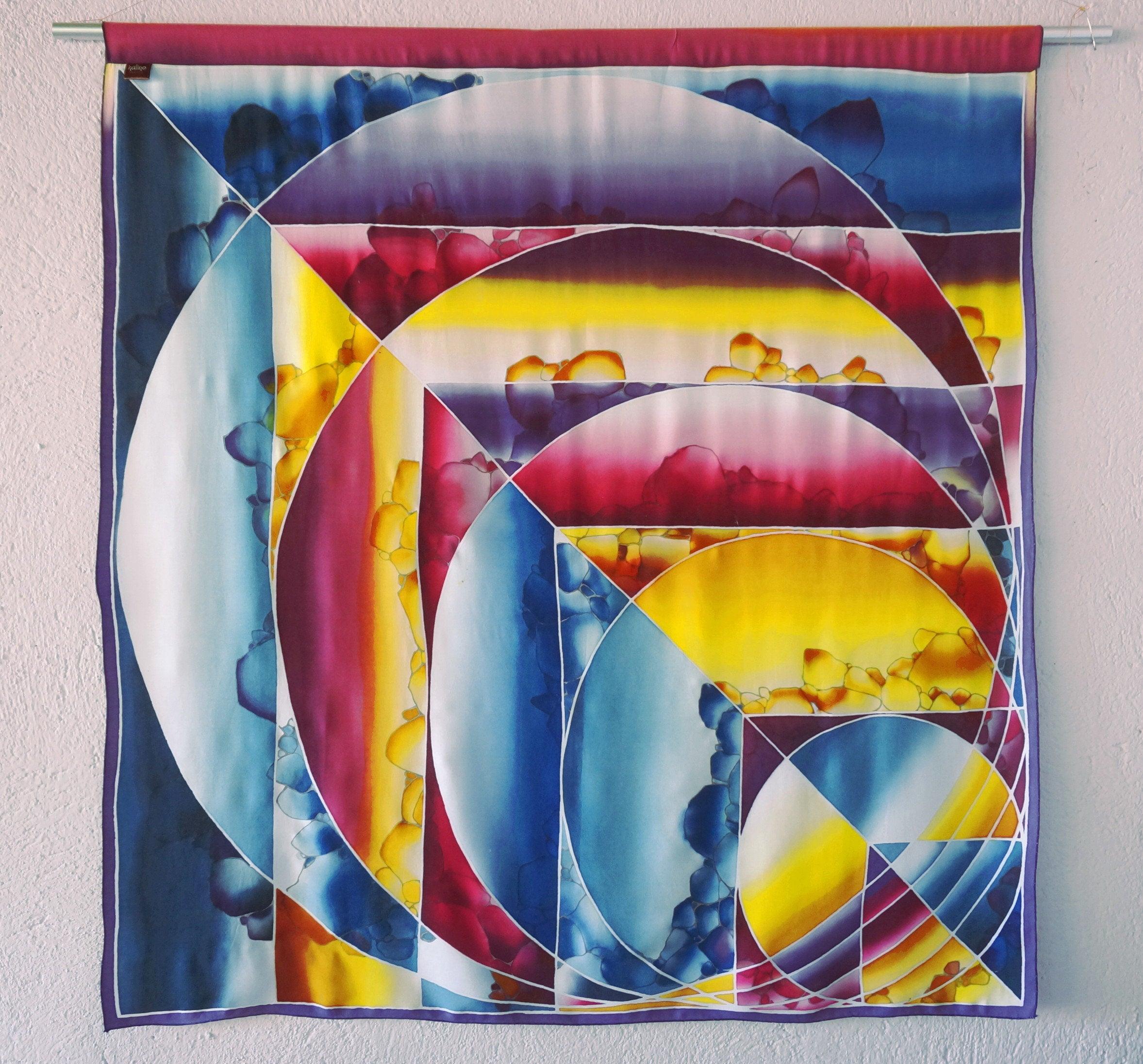Contemporary Geometric Wall Art Batik Wall Hanging, Home Decor Mid Century  Design, Decorative Batik Multi-Color, Boho Style Rainbow Prism in Contemporary Geometric Wall Decor (Image 5 of 30)