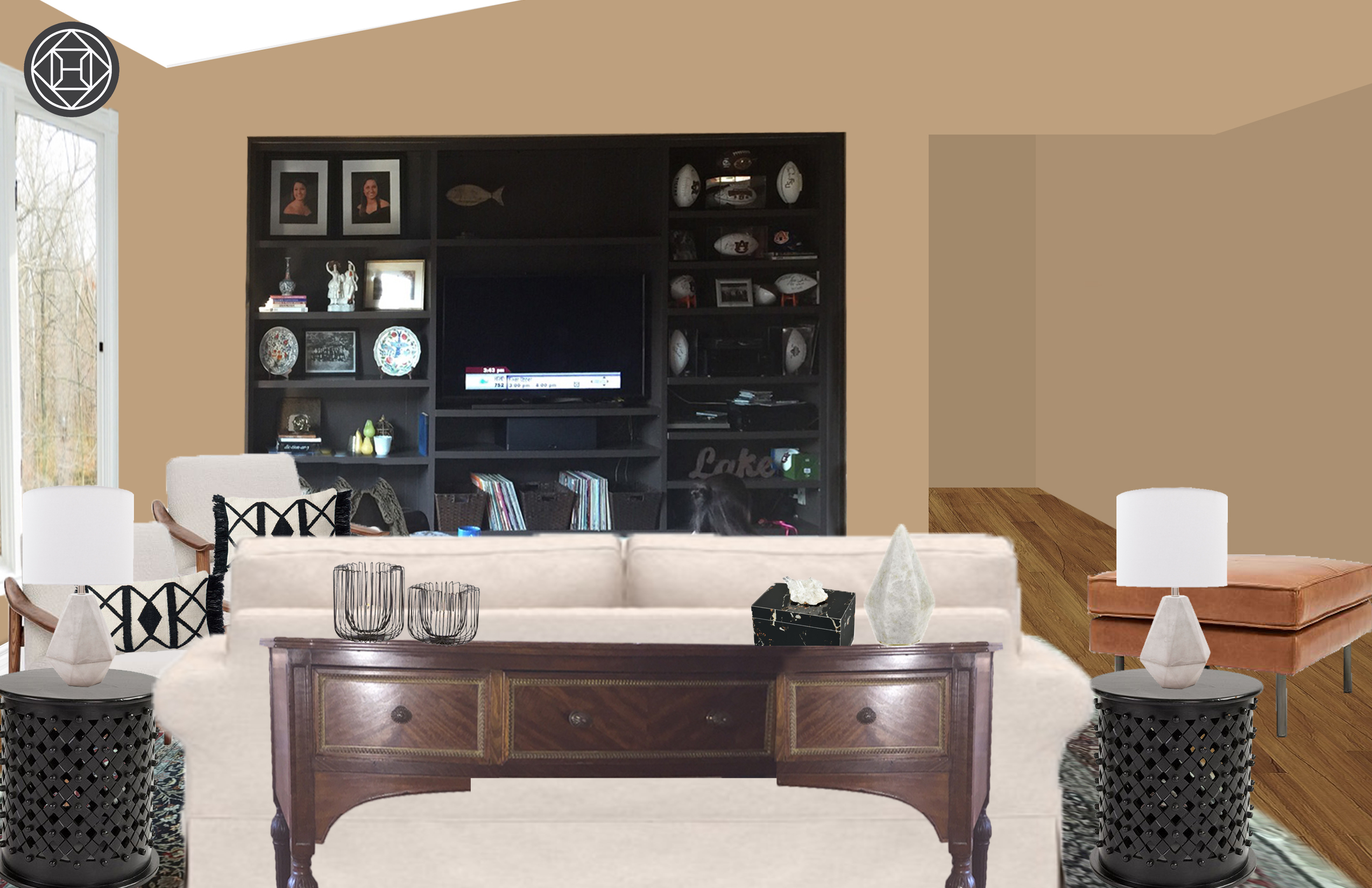 Contemporary, Glam, Preppy Living Room Designhavenly in Lainey Credenzas (Image 6 of 30)