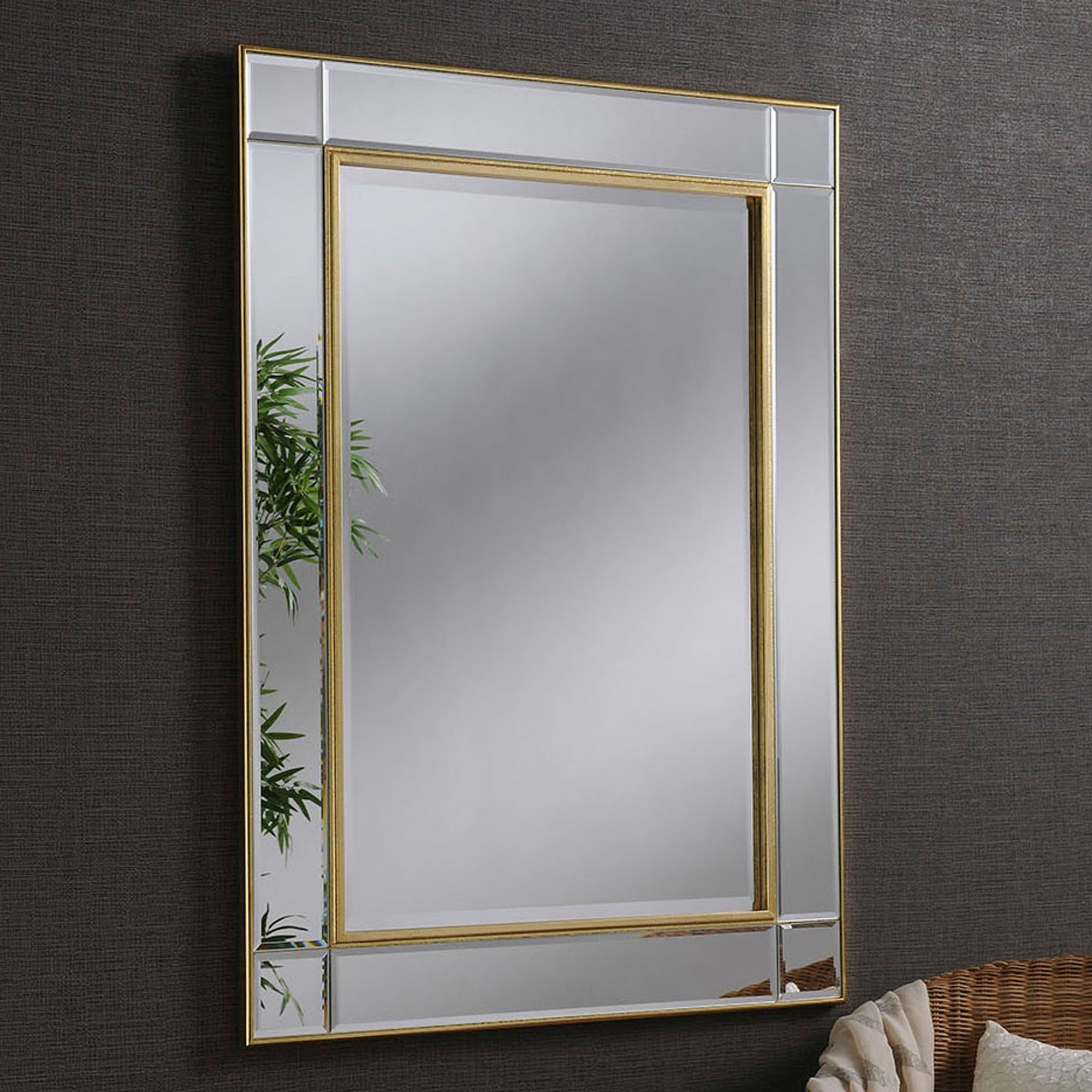 Contemporary Gold Beveled Wall Mirror in Modern & Contemporary Beveled Wall Mirrors (Image 6 of 30)