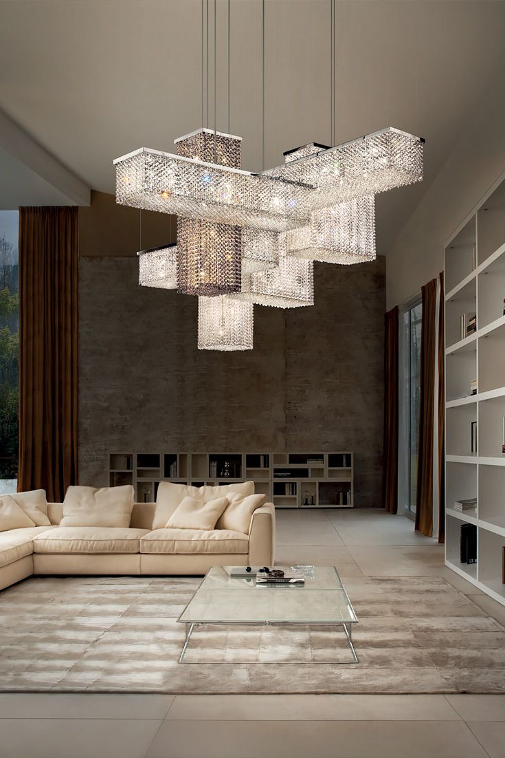 Contemporary Italian Designer Swarovski Crystal Geometric With Emaria 4 Light Unique / Statement Chandeliers (View 17 of 30)