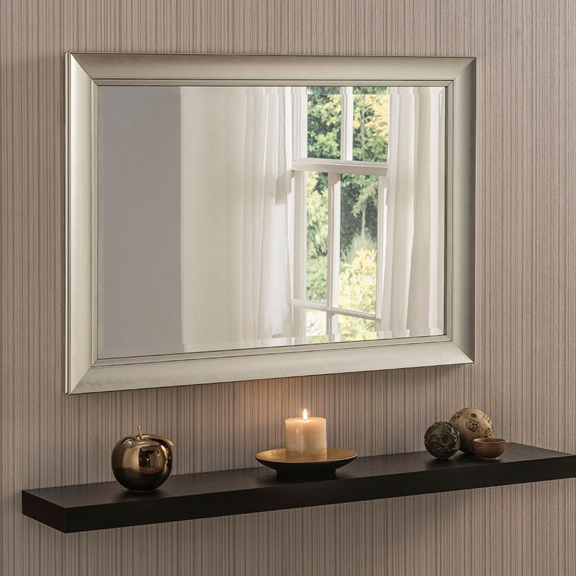 Contemporary Silver Beveled Wall Mirror in Modern & Contemporary Beveled Wall Mirrors (Image 7 of 30)