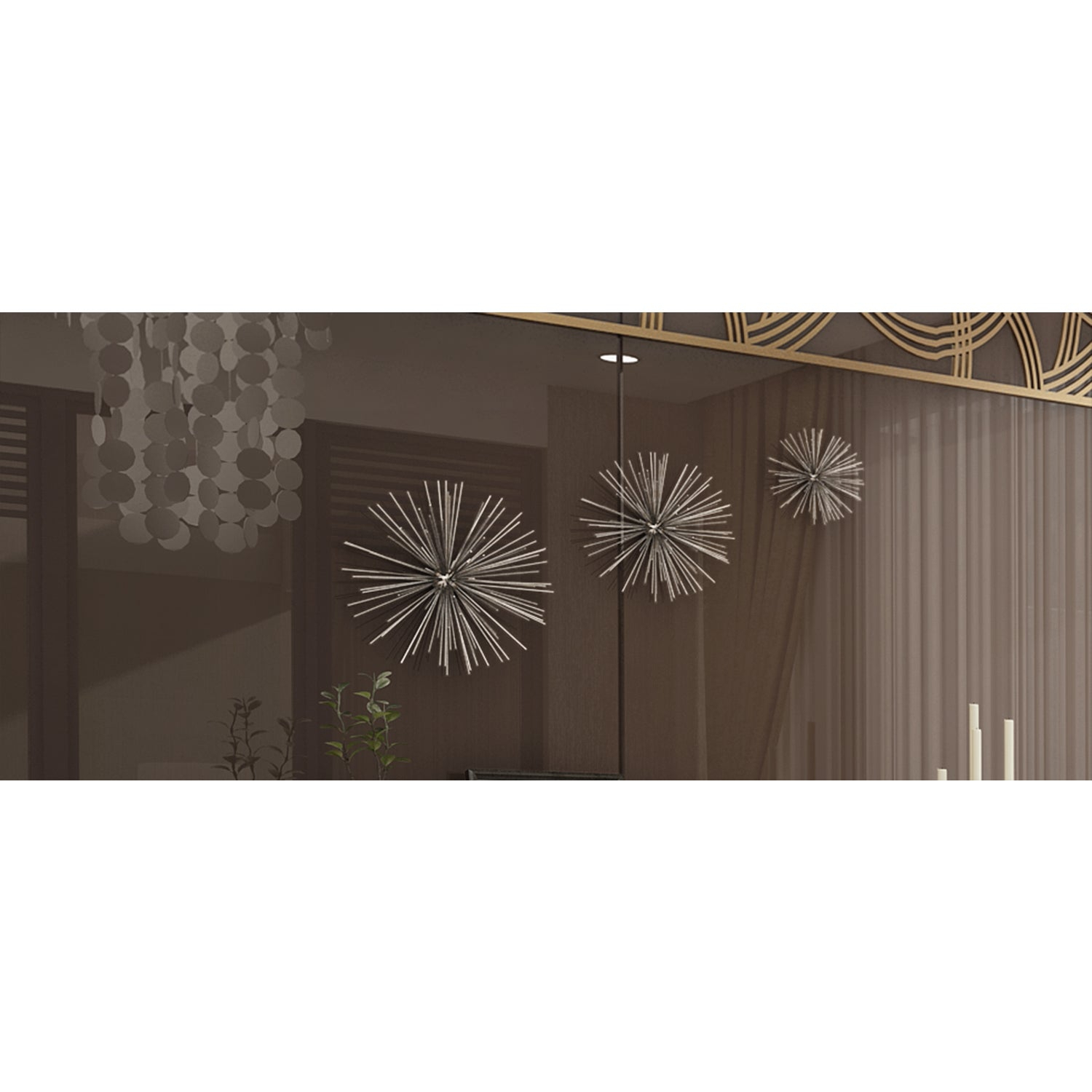 """Contemporary Style 3D Round Silver Metal Starburst Wall Decor Sculptures  Set Of 3 - 6"""", 9"""", 11"""" for Set Of 3 Contemporary 6, 9, And 11 Inch Gold Tin Starburst Sculptures (Image 7 of 30)"""