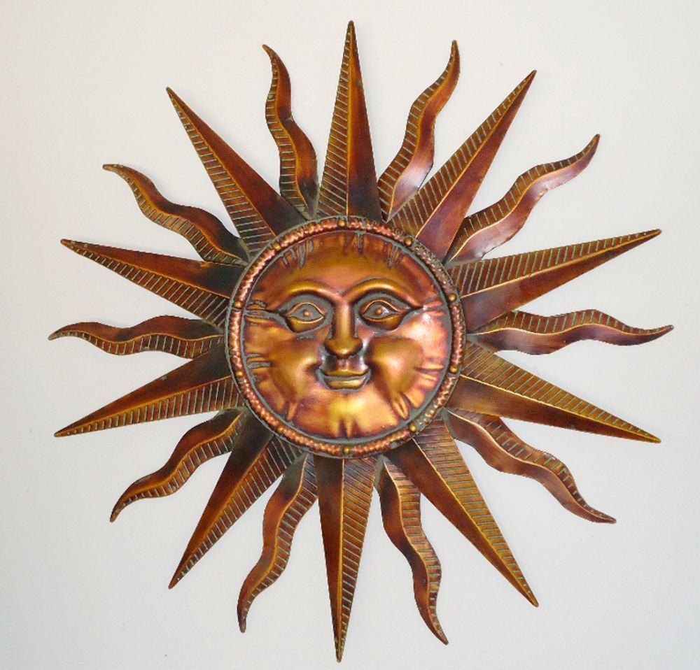 Copper Patina Sun Face Extra Large Sunburst Metal Wall Art Intended For Recycled Moon And Sun Wall Decor (View 4 of 30)