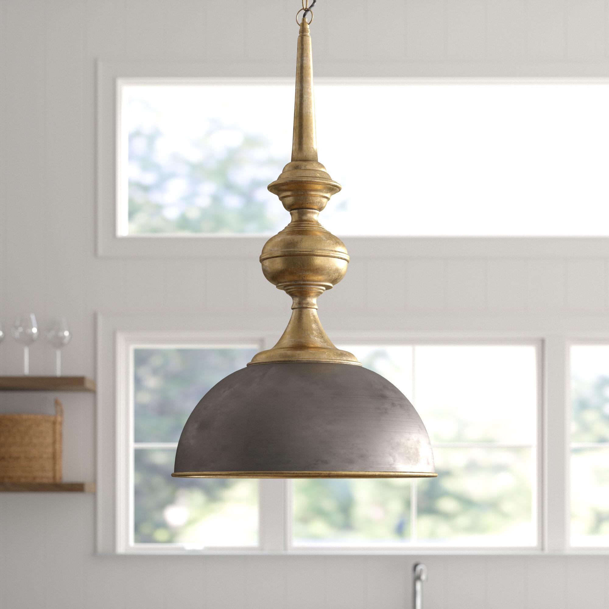 Corrine 1 Light Single Dome Pendant Regarding Grullon Scroll 1 Light Single Bell Pendants (View 4 of 30)