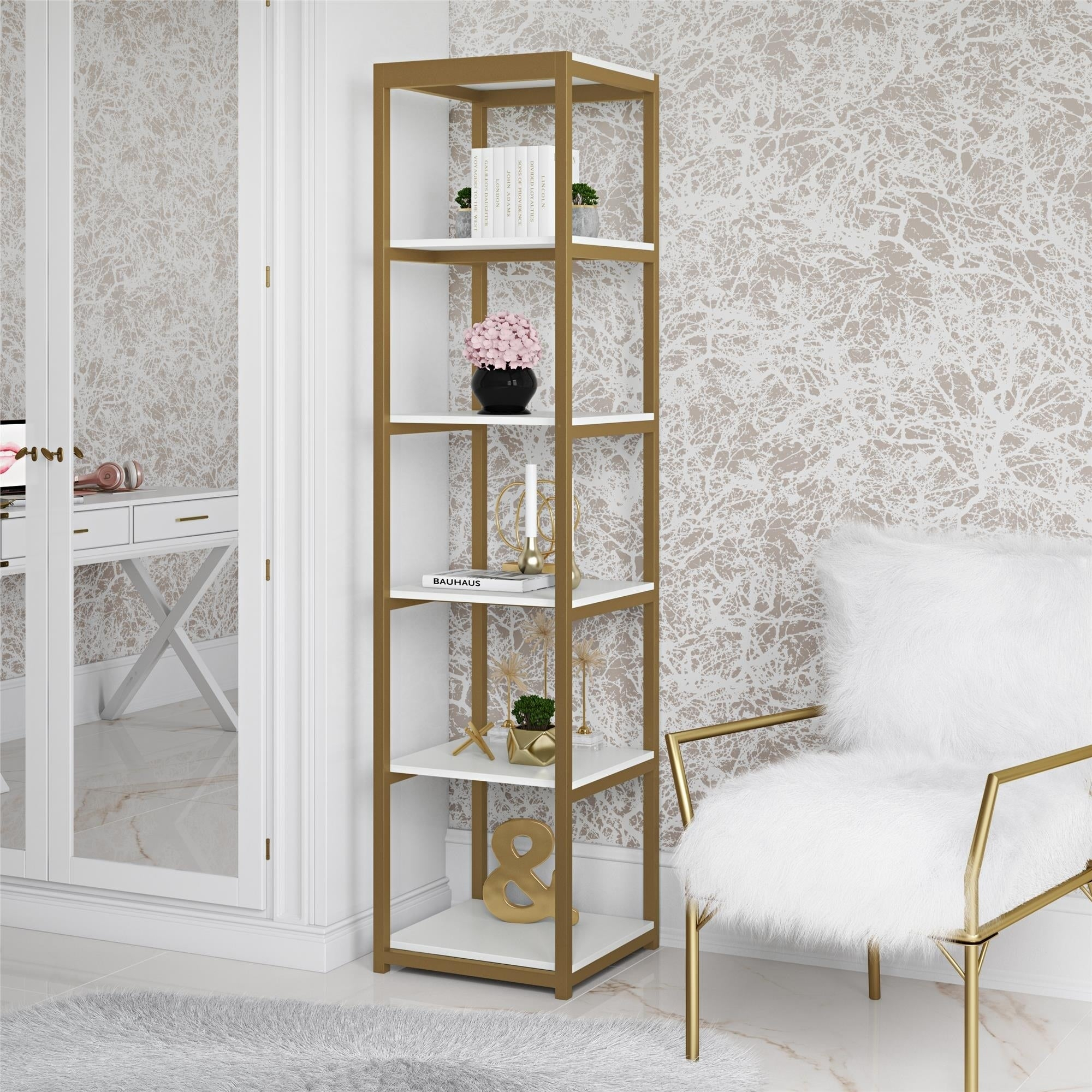 Cosmoliving Billie White/goldtone Metal Bookcase Etagere intended for Metal Wall Decor by Cosmoliving (Image 3 of 30)