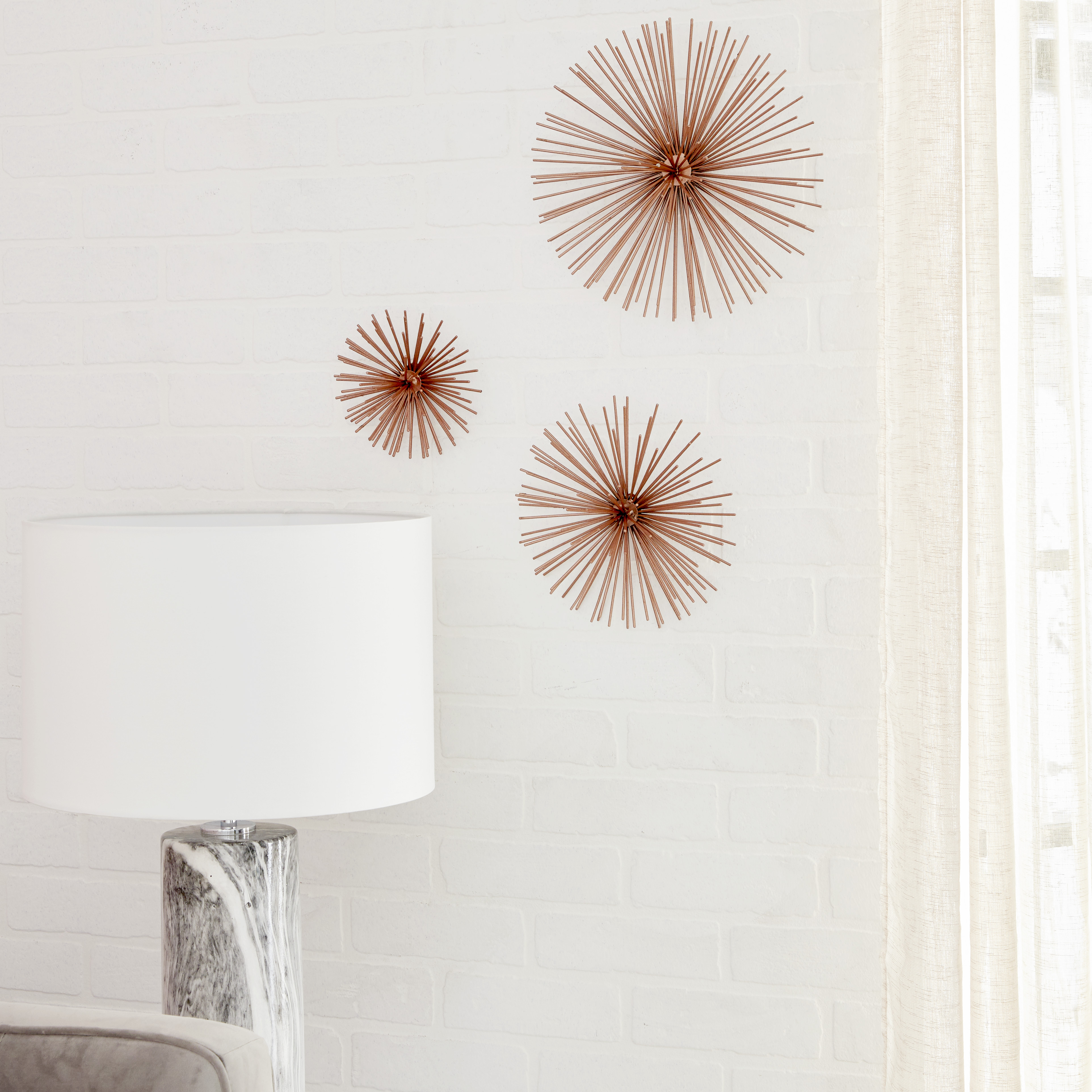 "Cosmoliving Contemporary Style 3D Round Copper Metal Starburst Wall Decor  Sculptures | Set Of 3: 6"", 9"", 12"" throughout Metal Wall Decor by Cosmoliving (Image 4 of 30)"