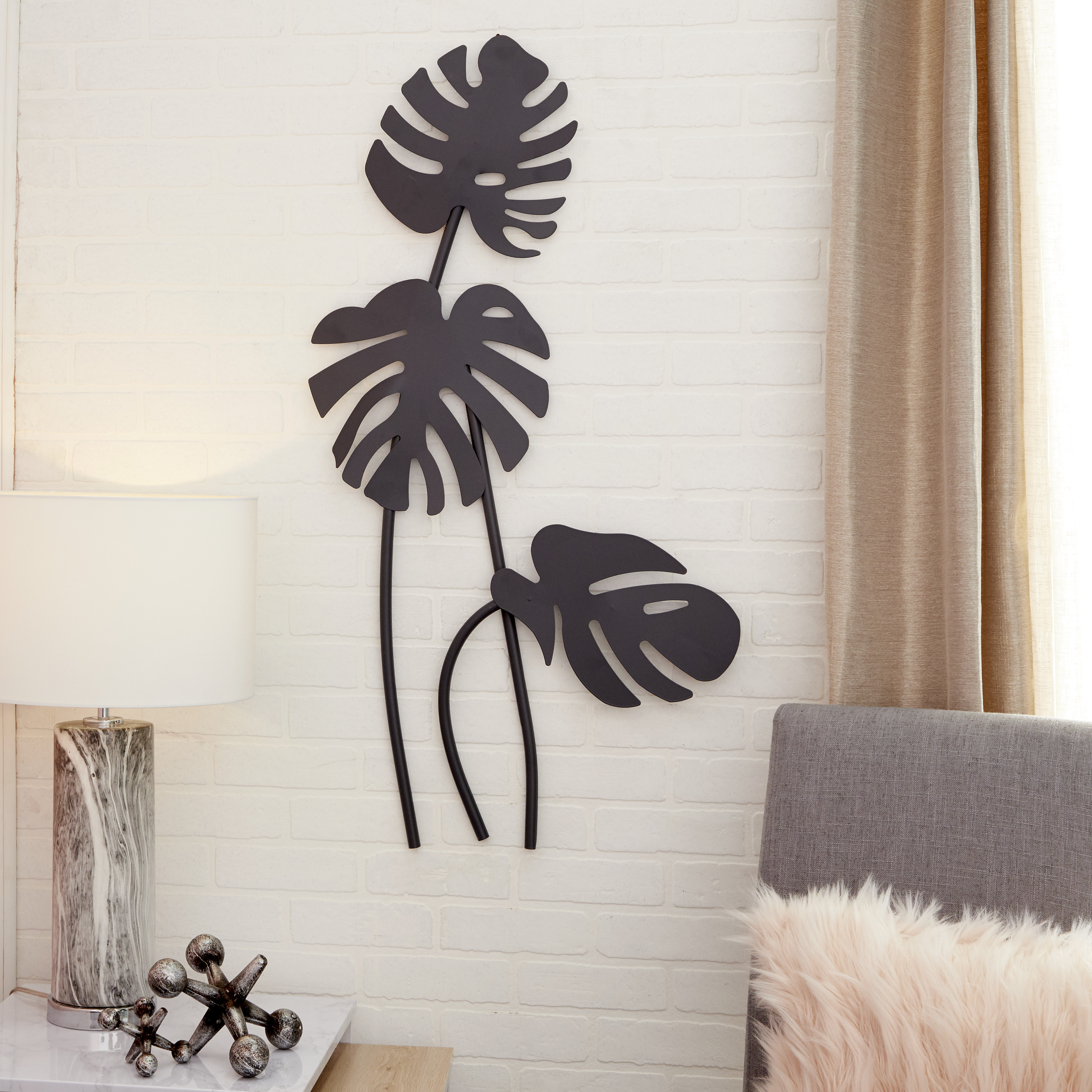 "Cosmoliving Large Black Palm Leaf Sculptures Metal Wall Decor | 21"" X 42"" pertaining to Metal Wall Decor By Cosmoliving (Image 7 of 30)"