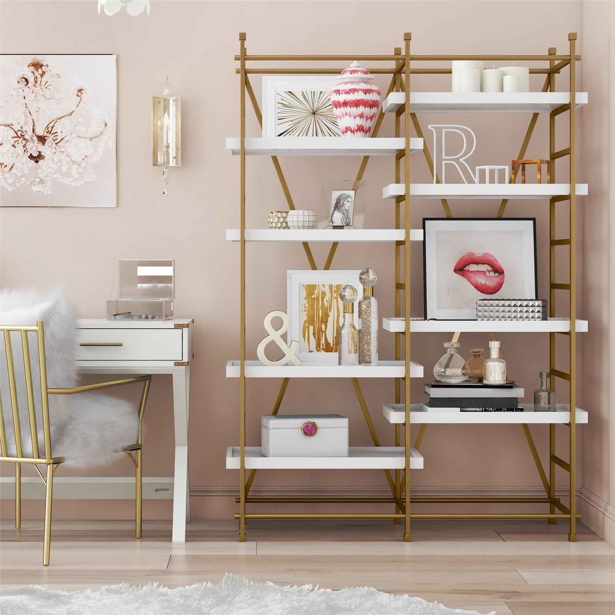 Cosmoliving Yves Goldtone Metal/white Wood Bookcase Etagere intended for Metal Wall Decor by Cosmoliving (Image 12 of 30)