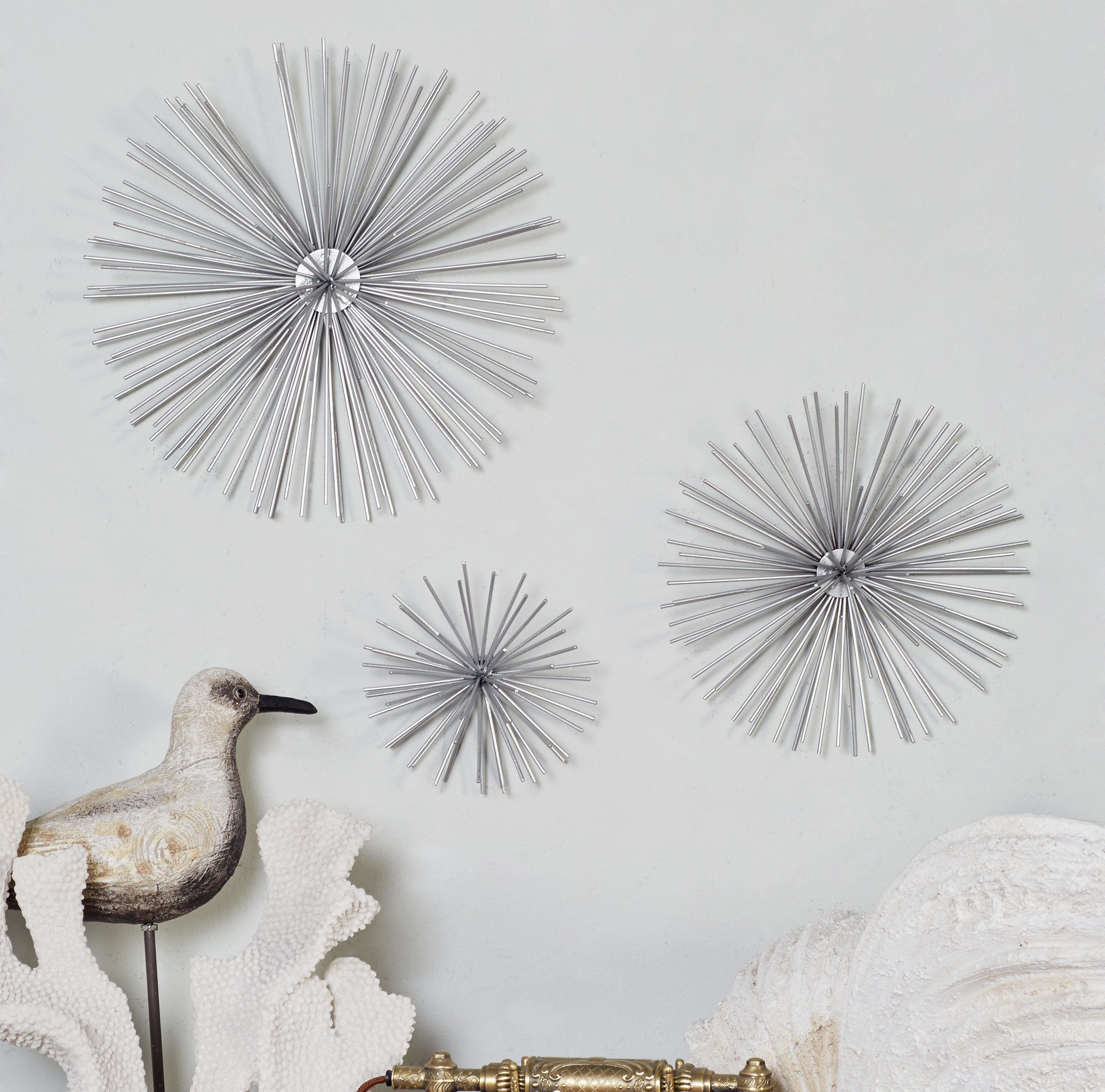 Cosmolivingcosmopolitan 3 Piece Star Wall Decor Set in 3 Piece Ceramic Flowers Wall Decor Sets (Image 18 of 30)