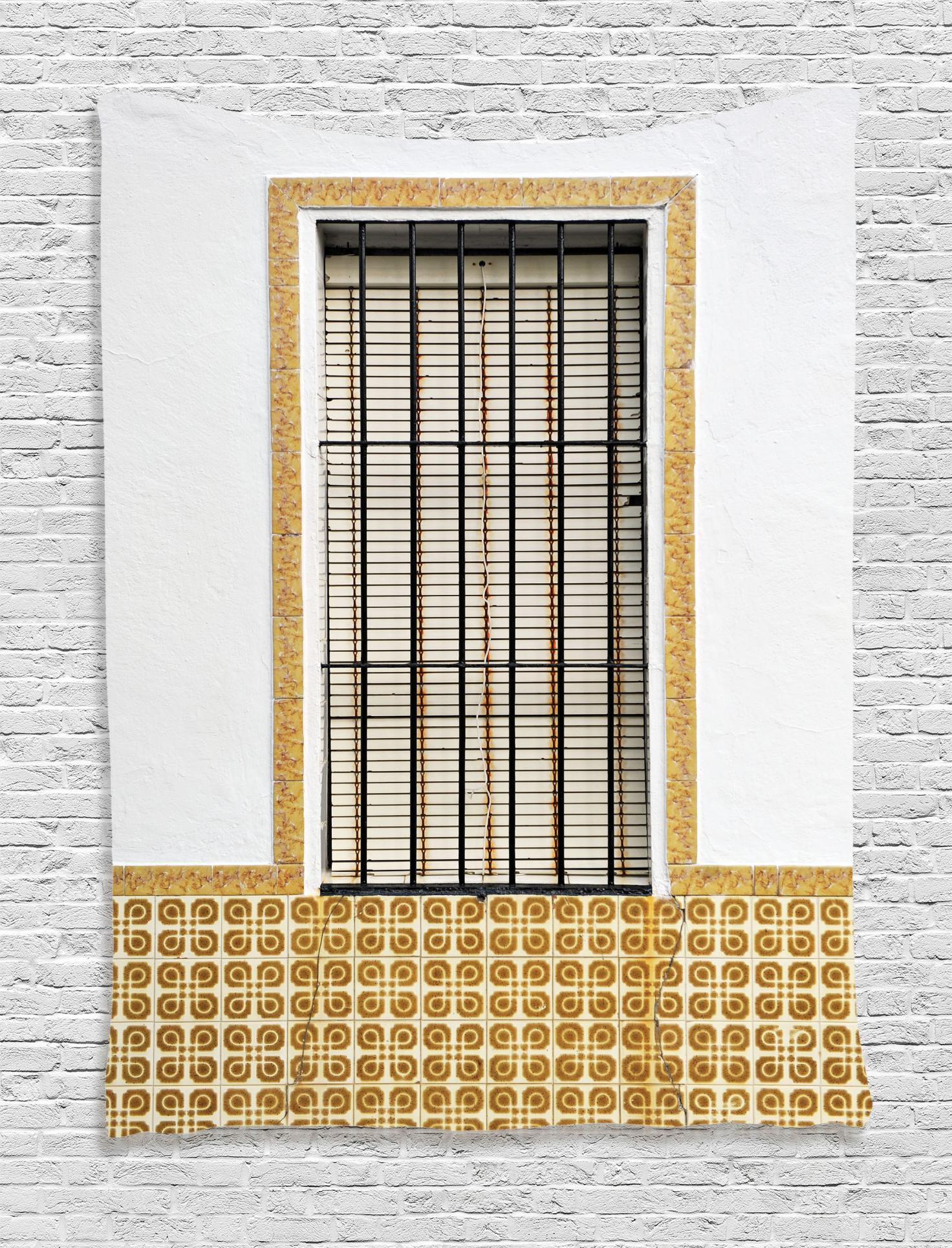 Country Tapestry, Image Of Modern Spanish Window And Shutters With Mosaic Patterns Urban City Life, Wall Hanging For Bedroom Living Room Dorm Decor, For Shutter Window Hanging Wall Decor (View 14 of 30)