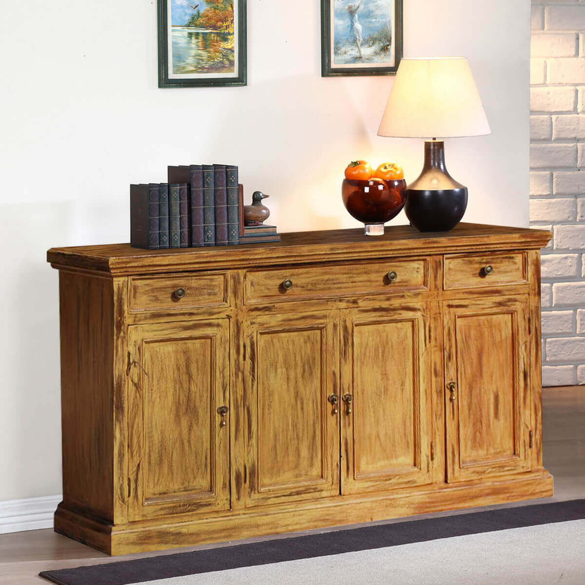 Courtdale Rustic Solid Wood 4 Door 3 Drawer Large Sideboard Cabinet within Courtdale Sideboards (Image 11 of 30)