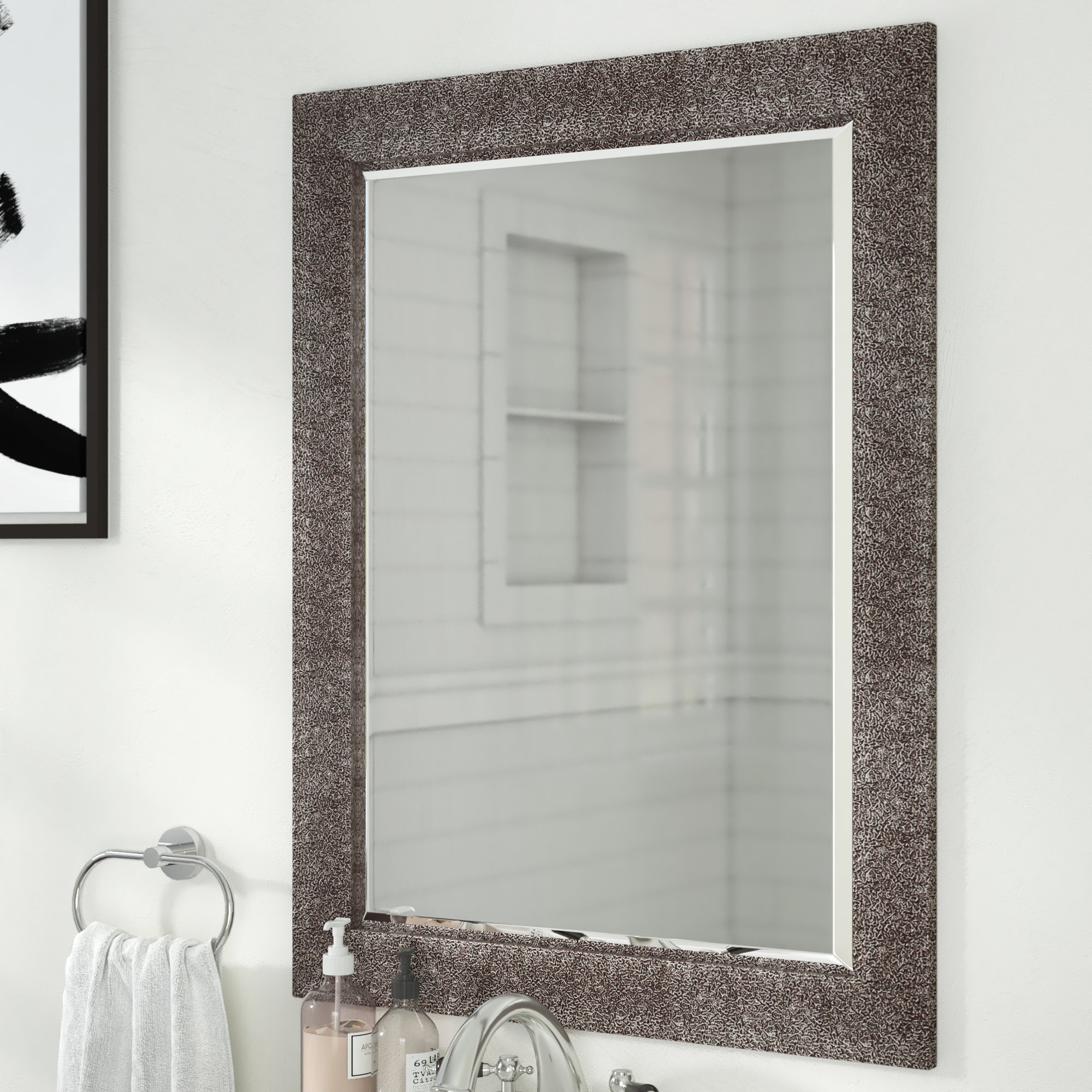 Crackled Antique Traditional Beveled Accent Mirror Inside Traditional Beveled Accent Mirrors (View 6 of 30)