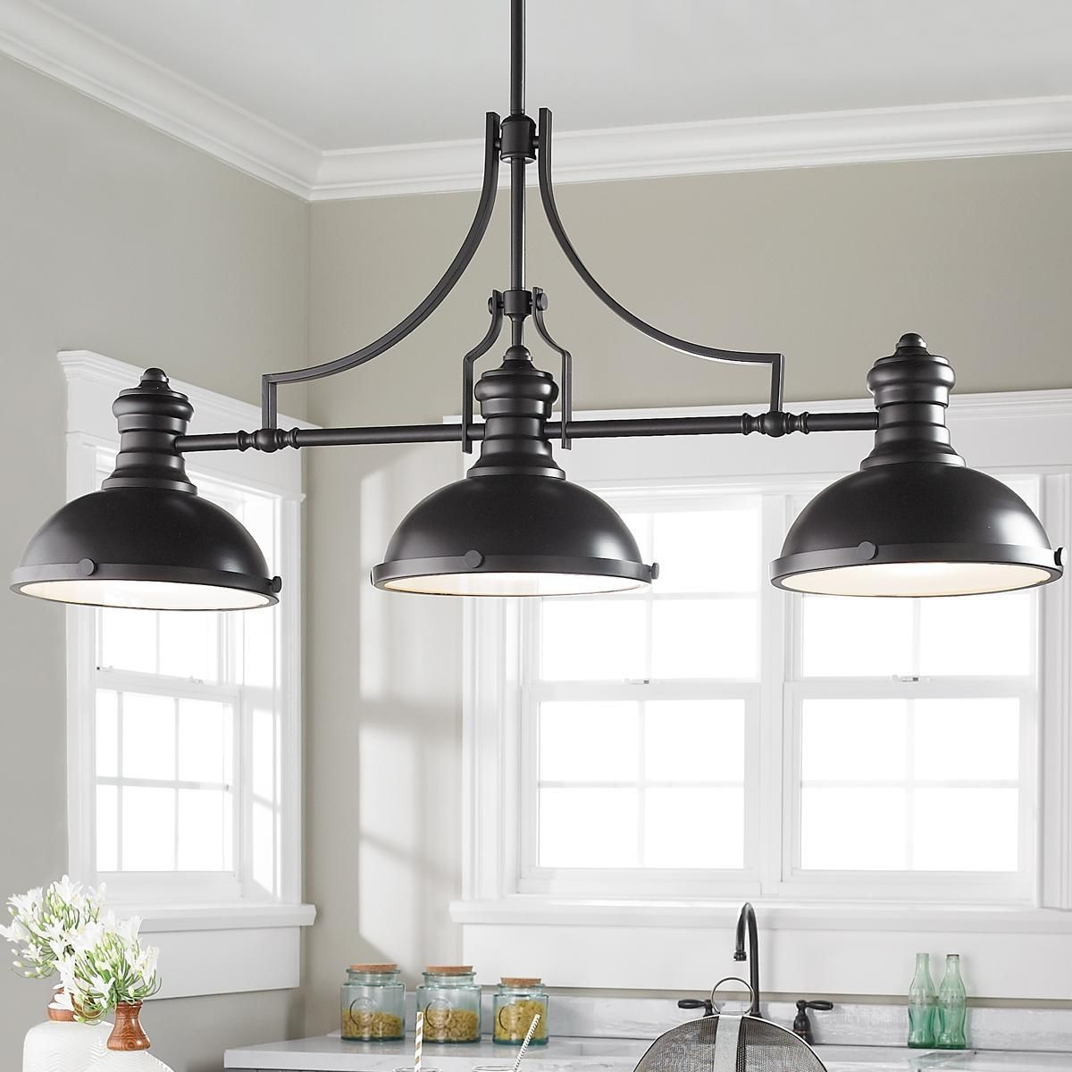 Craftsman Period Island Chandelier - 3 Light | Kitchen intended for Martinique 3-Light Kitchen Island Dome Pendants (Image 9 of 30)