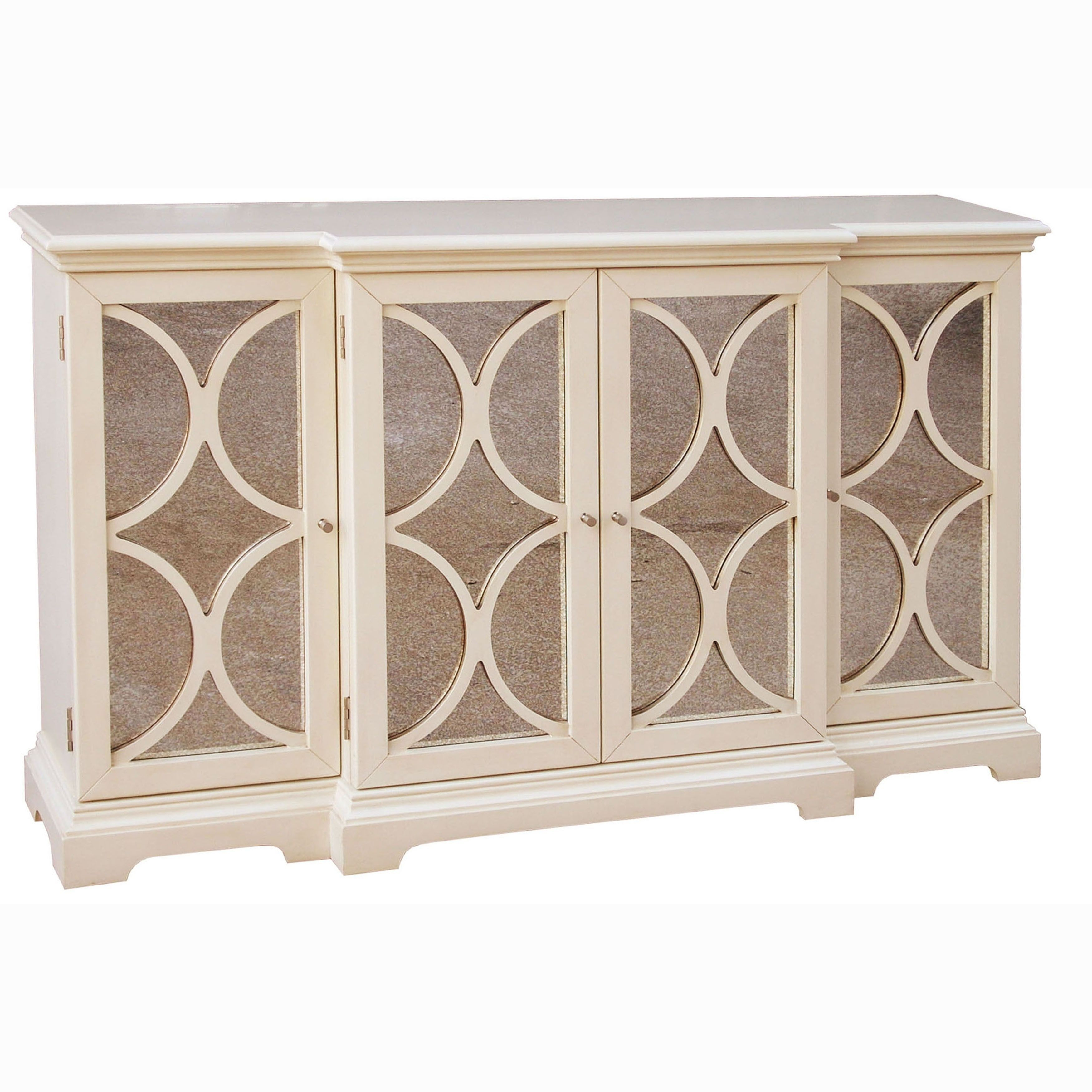 Cream Finish Antiqued Mirror Accent Chest/ Credenza, Multi Inside Elyza Credenzas (View 4 of 30)