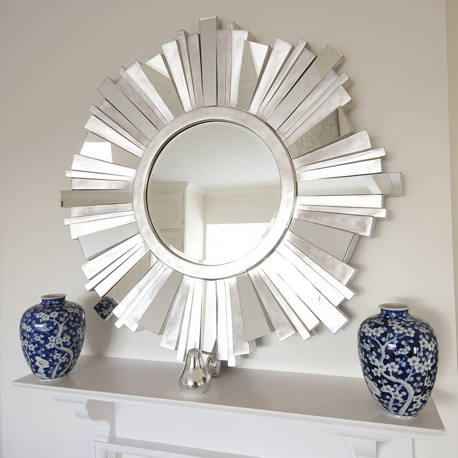 Create Contemporary Wall Mirrors Decorative | Top Basement Throughout Deniece Sunburst Round Wall Mirrors (View 4 of 30)
