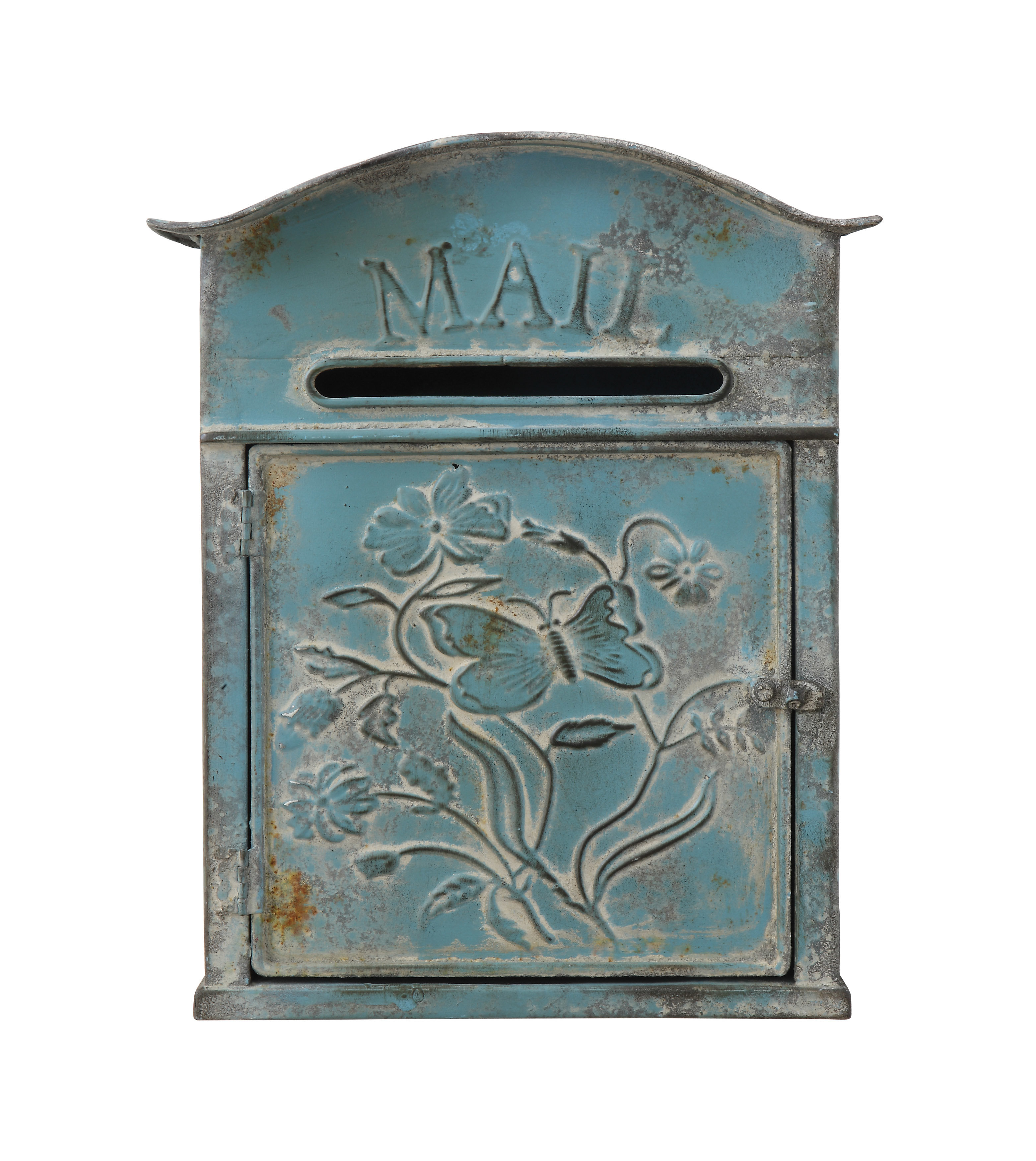 Creative Co-Op Distressed Embossed Tin Wall Mounted Mailbox in Lacordaire Wall Mounted Mailbox (Image 8 of 30)