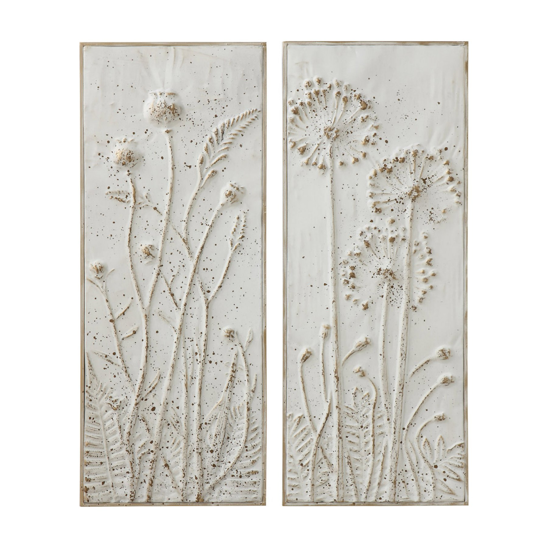 Creative Co Op Metal Wall Decor With Flowers – Set Of 2 With Regard To Panel Wood Wall Decor Sets (set Of 2) (View 17 of 30)