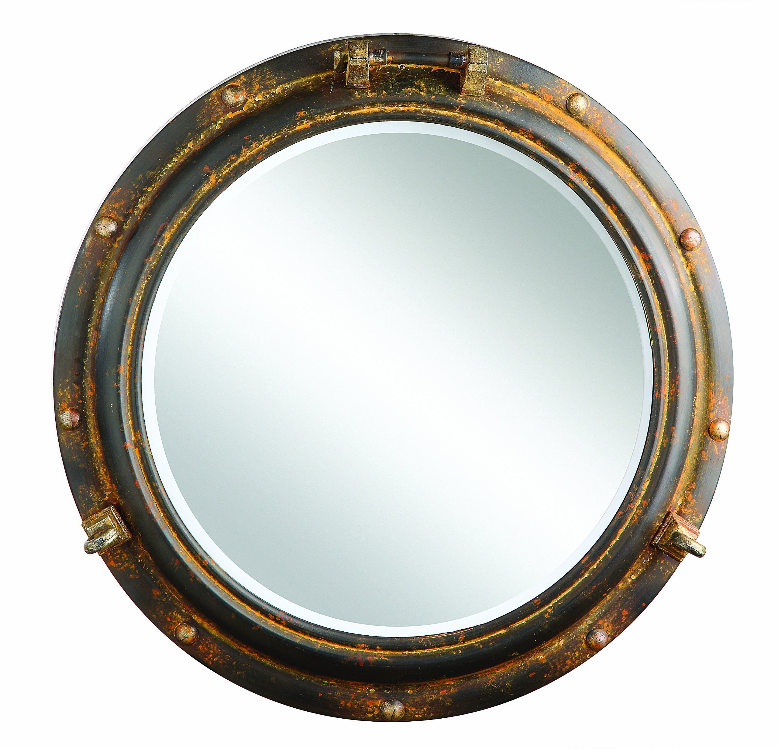 Creative Co Op Porthole Mirror, Rust Metal (Image 13 of 30)
