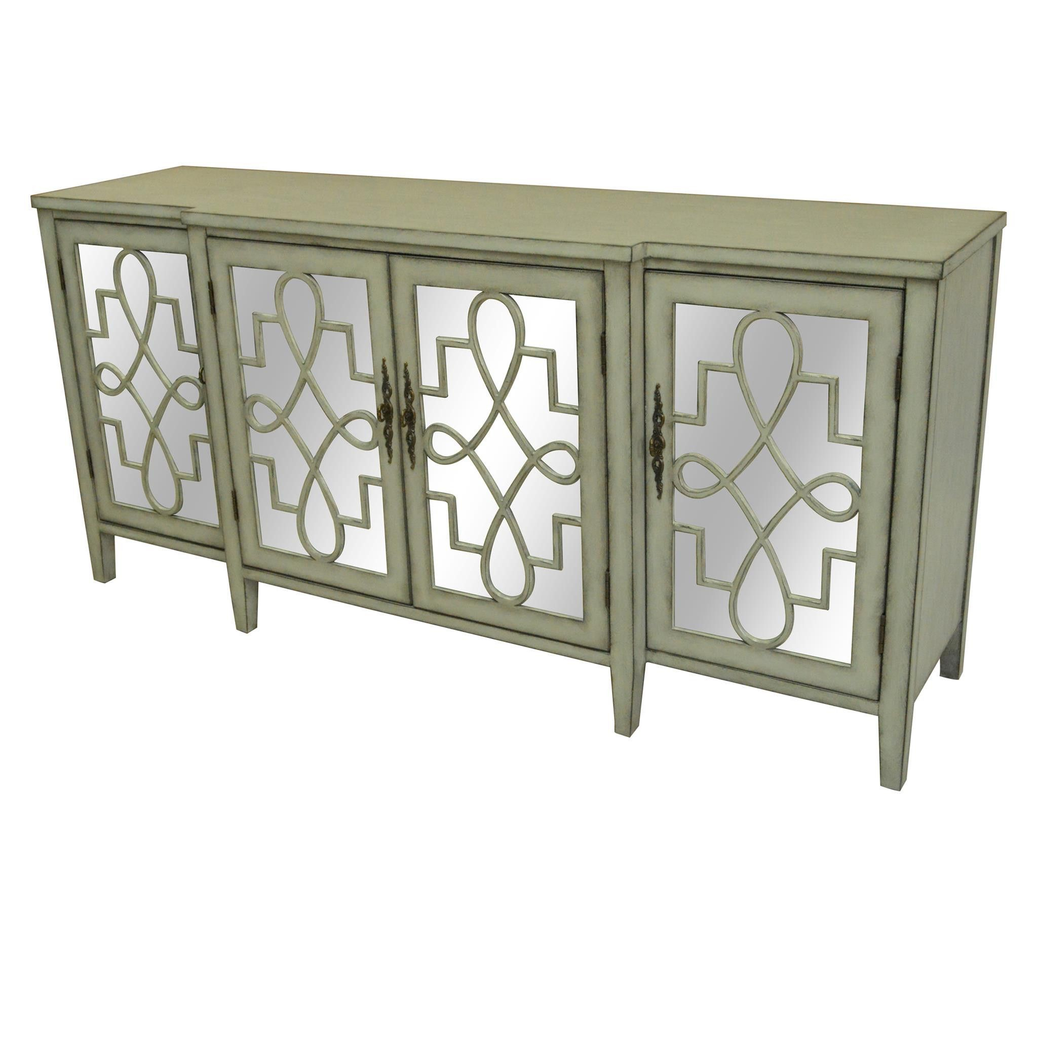 Crestview Isabelle 4 Door Breakfront Grey And Mirrored with regard to Mauzy Sideboards (Image 5 of 30)
