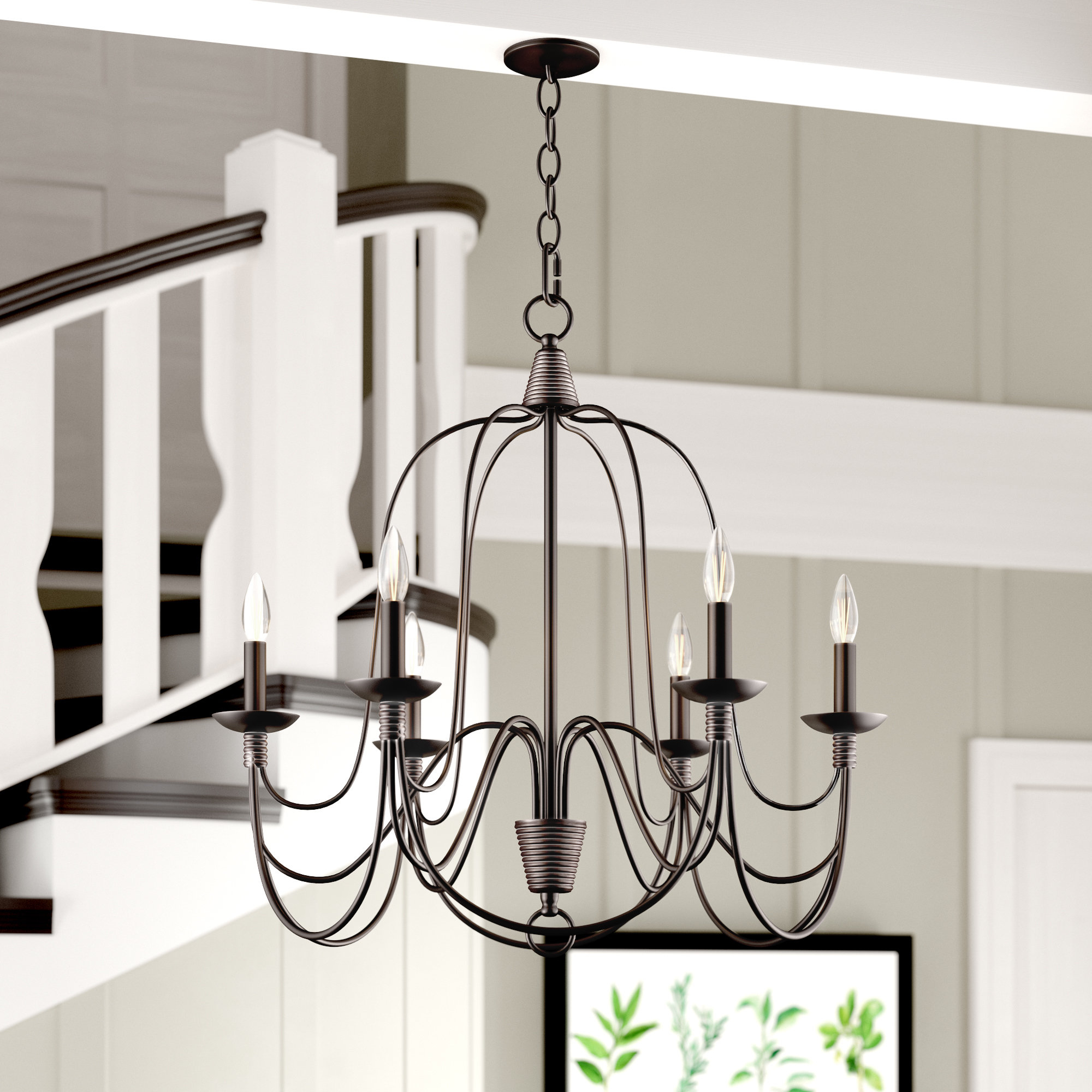 Crim Vintage 6-Light Chandelier in Watford 6-Light Candle Style Chandeliers (Image 5 of 30)