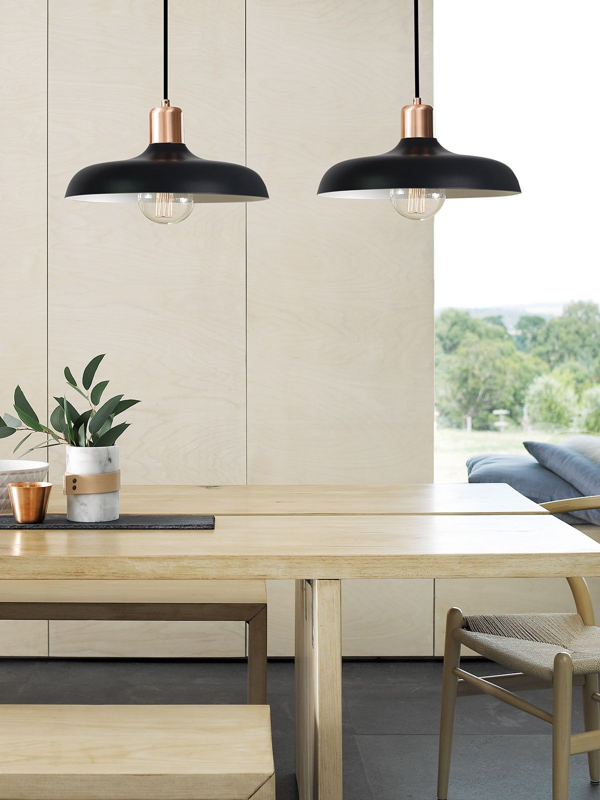 Croft 1 Light Pendant In Brushed Copper/black | Dining Room Pertaining To Guro 1 Light Cone Pendants (View 17 of 30)