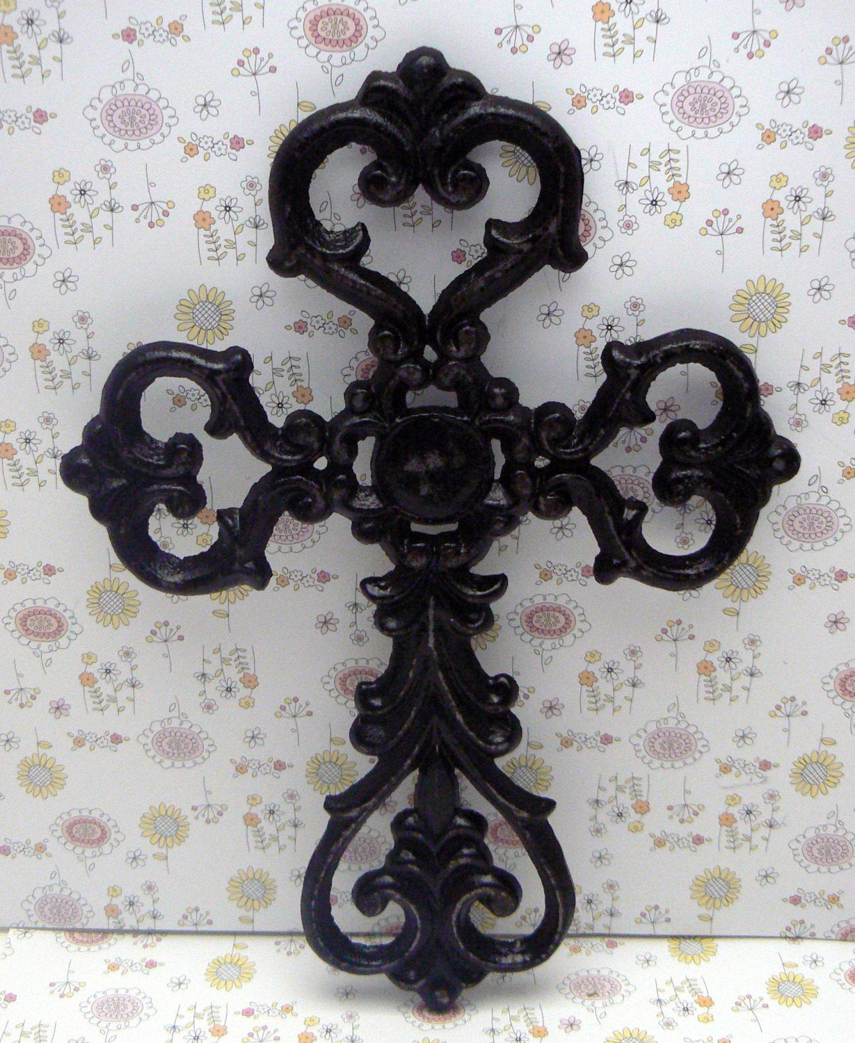 Cross Wall Decor Classic Black Distressed Swirl Ornate intended for Shabby Medallion Wall Decor (Image 2 of 30)