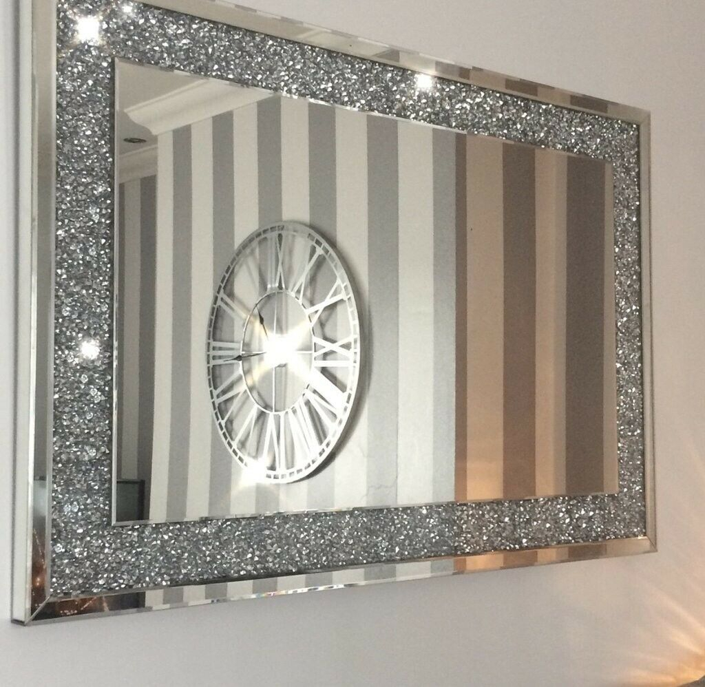 Crush Sparkle Crystal Oval Wall Mirror T For Sajish Oval Crystal Wall Mirrors (View 27 of 30)