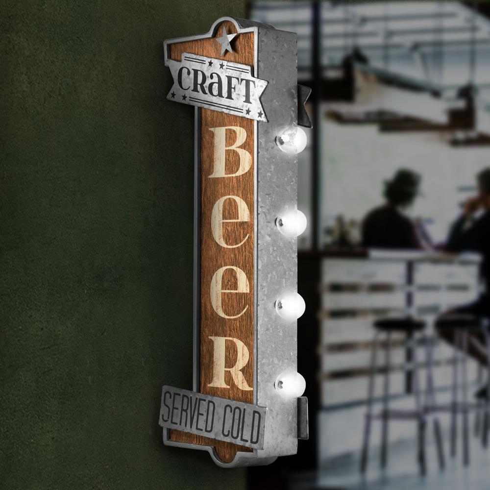 Crystal Art Gallery Craft Beer Metal Bar Light Vintage Inside Casual Country Eat Here Retro Wall Decor (View 15 of 30)