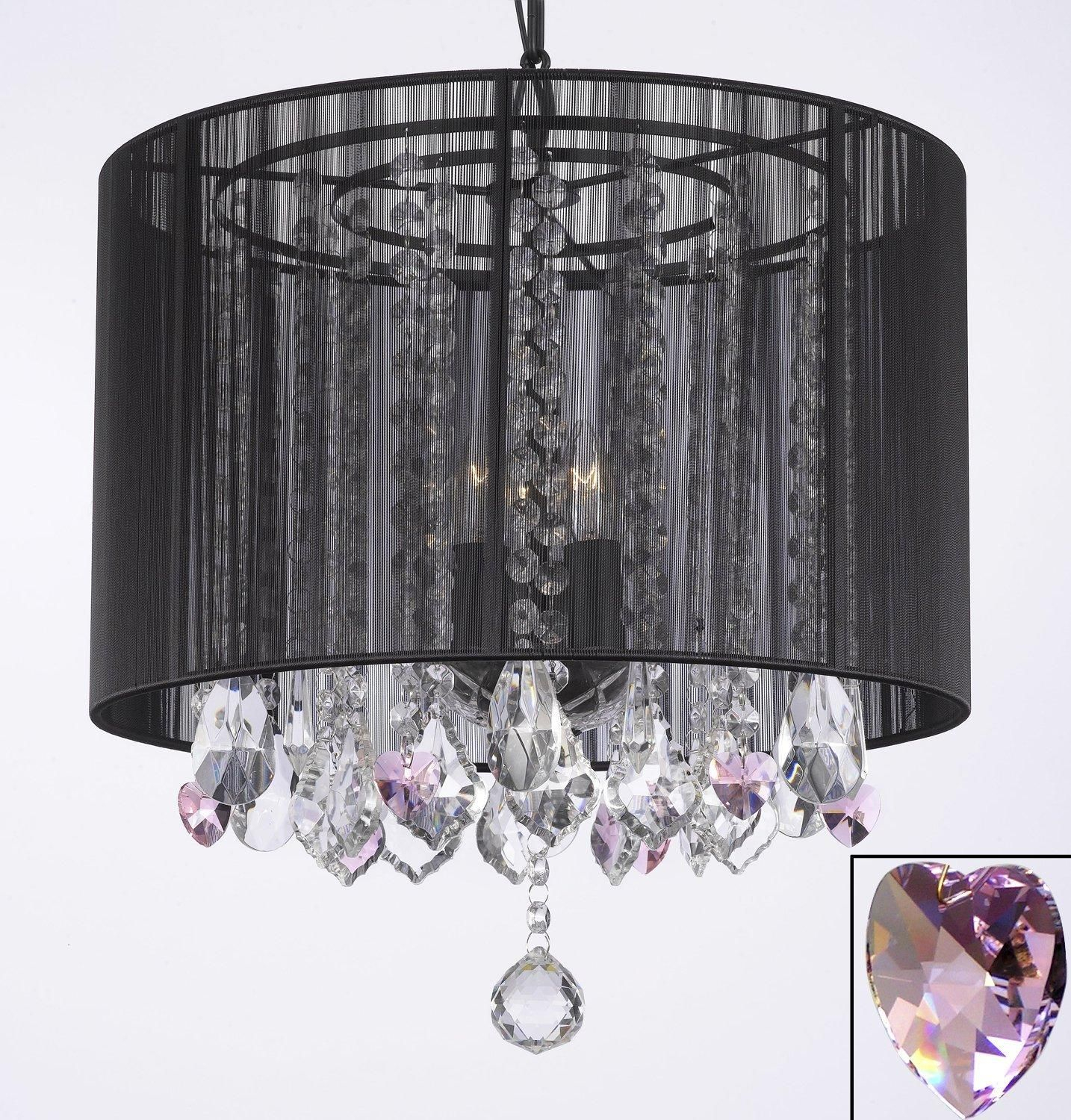 Crystal Chandelier With Large Black Shade & Pink Crystal in Sinead 4-Light Chandeliers (Image 13 of 30)