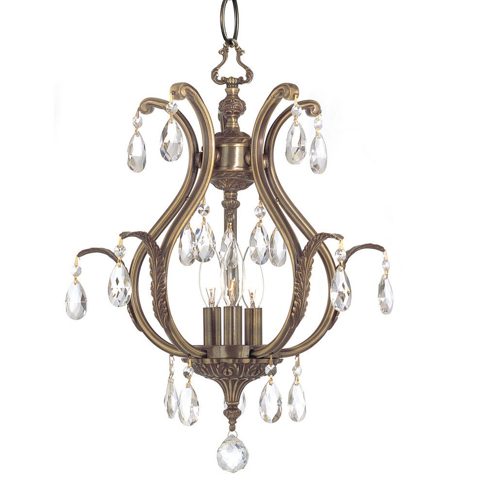 Crystorama Dawson Collection 3 Light Antique Brass/crystal Mini Chandelier Throughout Clea 3 Light Crystal Chandeliers (View 3 of 30)