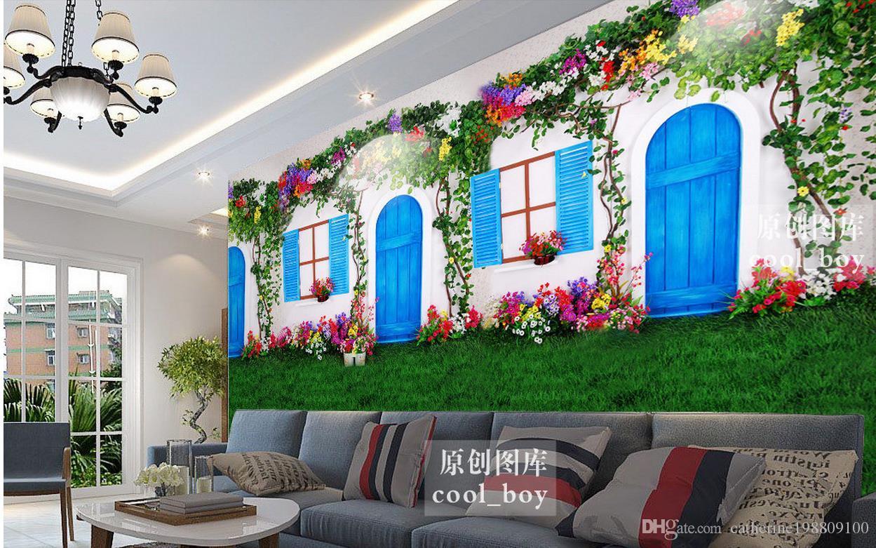 Custom 3d Wallpaper European White Door And Window Flowers Vines Grass Three – Dimensional Background Wall Living 3d Wallpaper With Three Flowers On Vine Wall Decor (View 23 of 30)