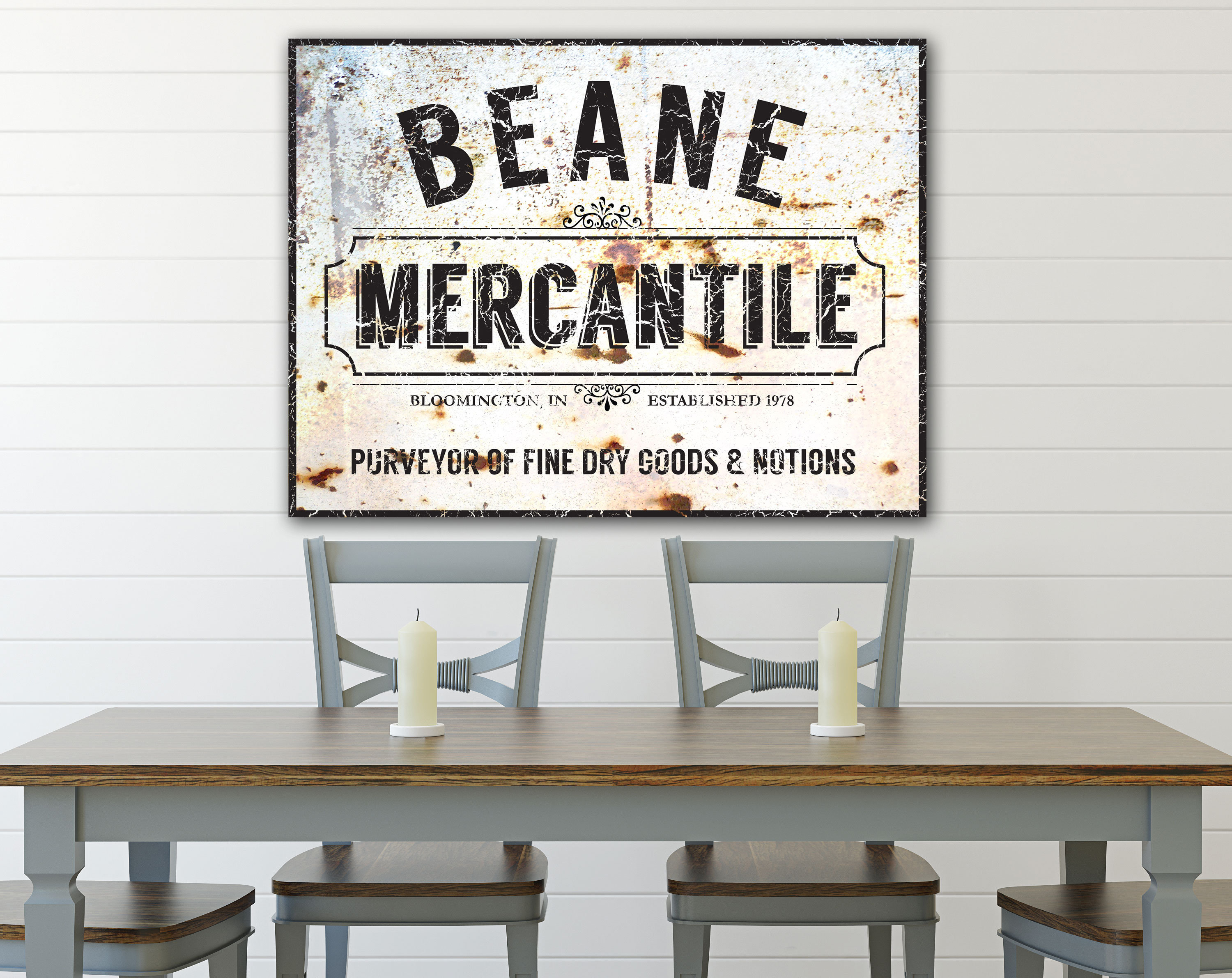 Custom Family Sign, Mercantile Sign, Large Rustic Wall Decor, Farmhouse Kitchen Decor, Last Name Sign, Vintage Dining Room Wall Art Throughout Personalized Distressed Vintage Look Kitchen Metal Sign Wall Decor (View 21 of 30)