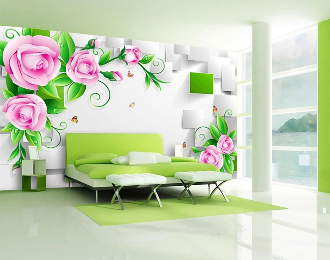 Custom Wallpaper 3d Three Dimensional Delicate Rose Vine Box Living Room Bedroom Background Wall Decoration Wallpaper With Regard To Three Flowers On Vine Wall Decor (View 13 of 30)