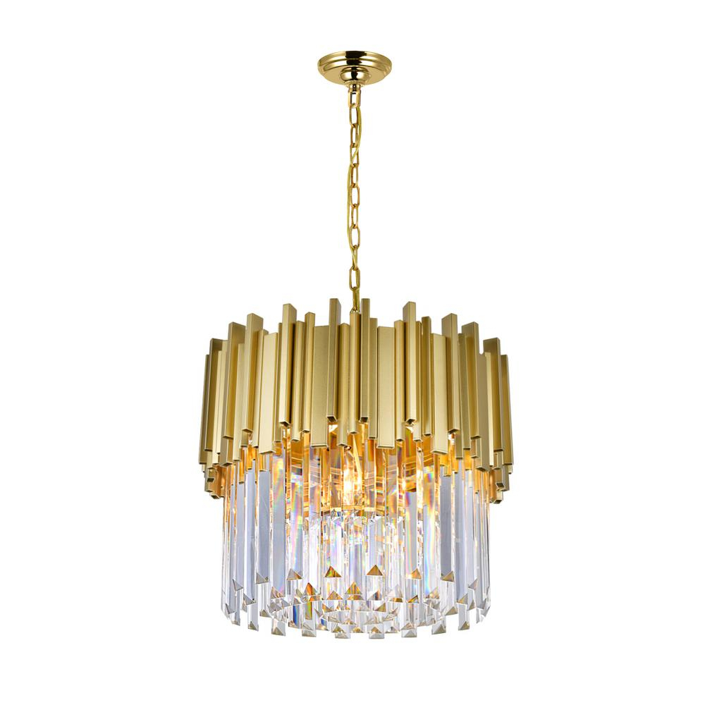 Cwi Lighting Deco 4 Light Medallion Gold Chandelier Within Hayden 5 Light Shaded Chandeliers (View 18 of 30)