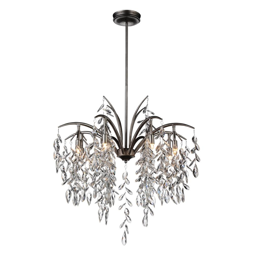 Cwi Lighting Napan 8 Light Silver Mist Chandelier With Hayden 5 Light Shaded Chandeliers (View 24 of 30)
