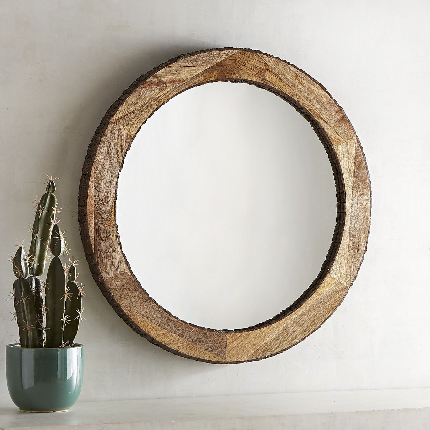 "Dakota Live Edge 30"" Round Mirror Natural 